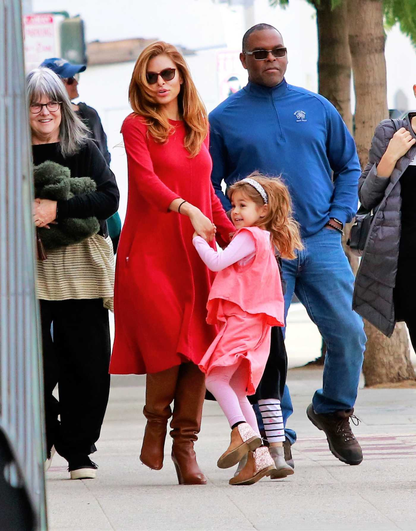 Eva Mendes in a Red Dress Was Seen Out in LA 12/11/2019