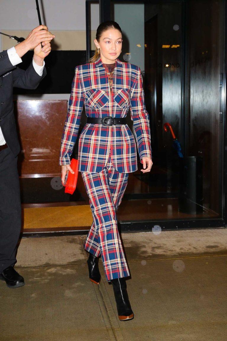 Gigi Hadid in a Plaid Suit
