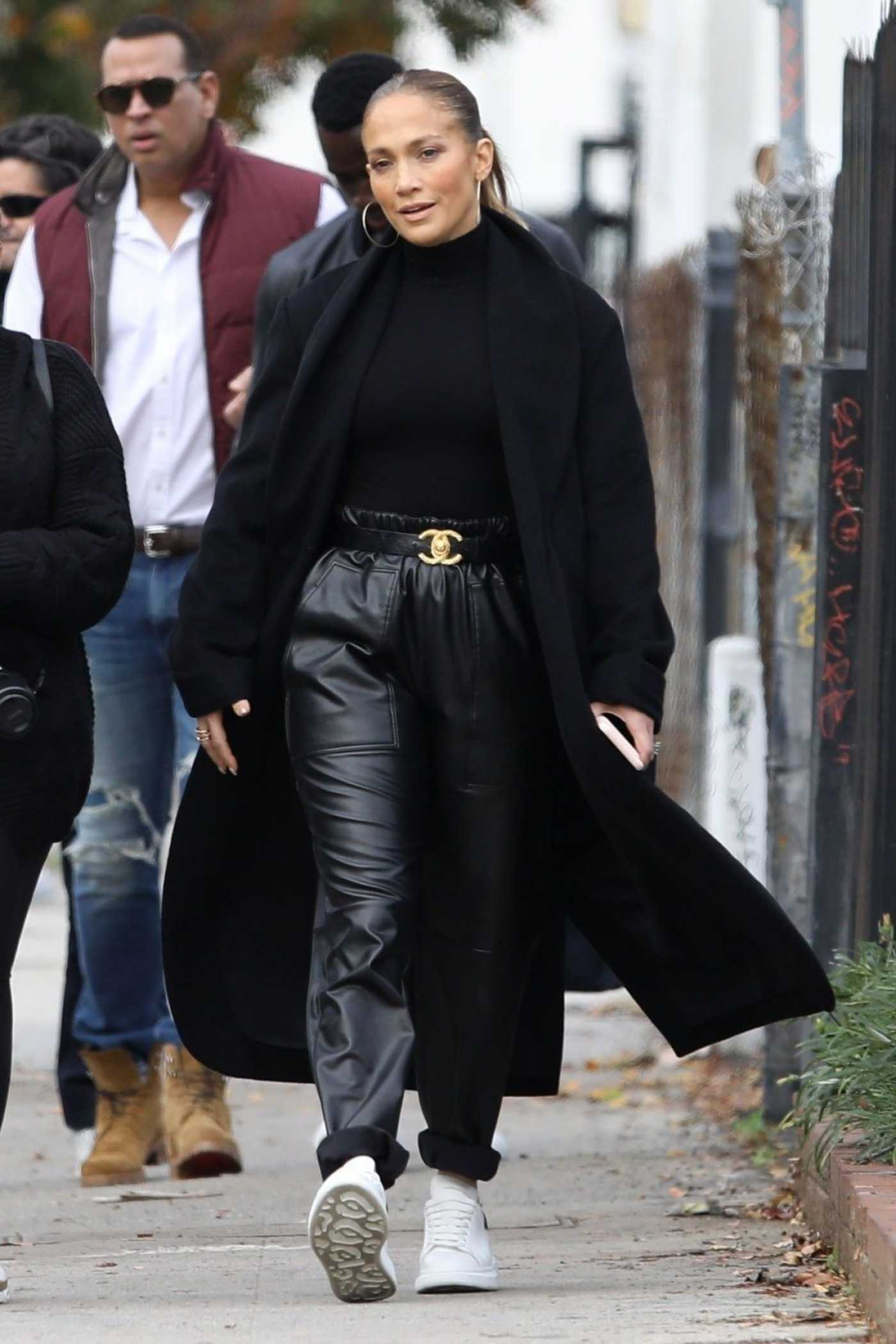 Jennifer Lopez in a Black Coat Was Seen Out with Alex Rodriguez in Hollywood 12/29/2019