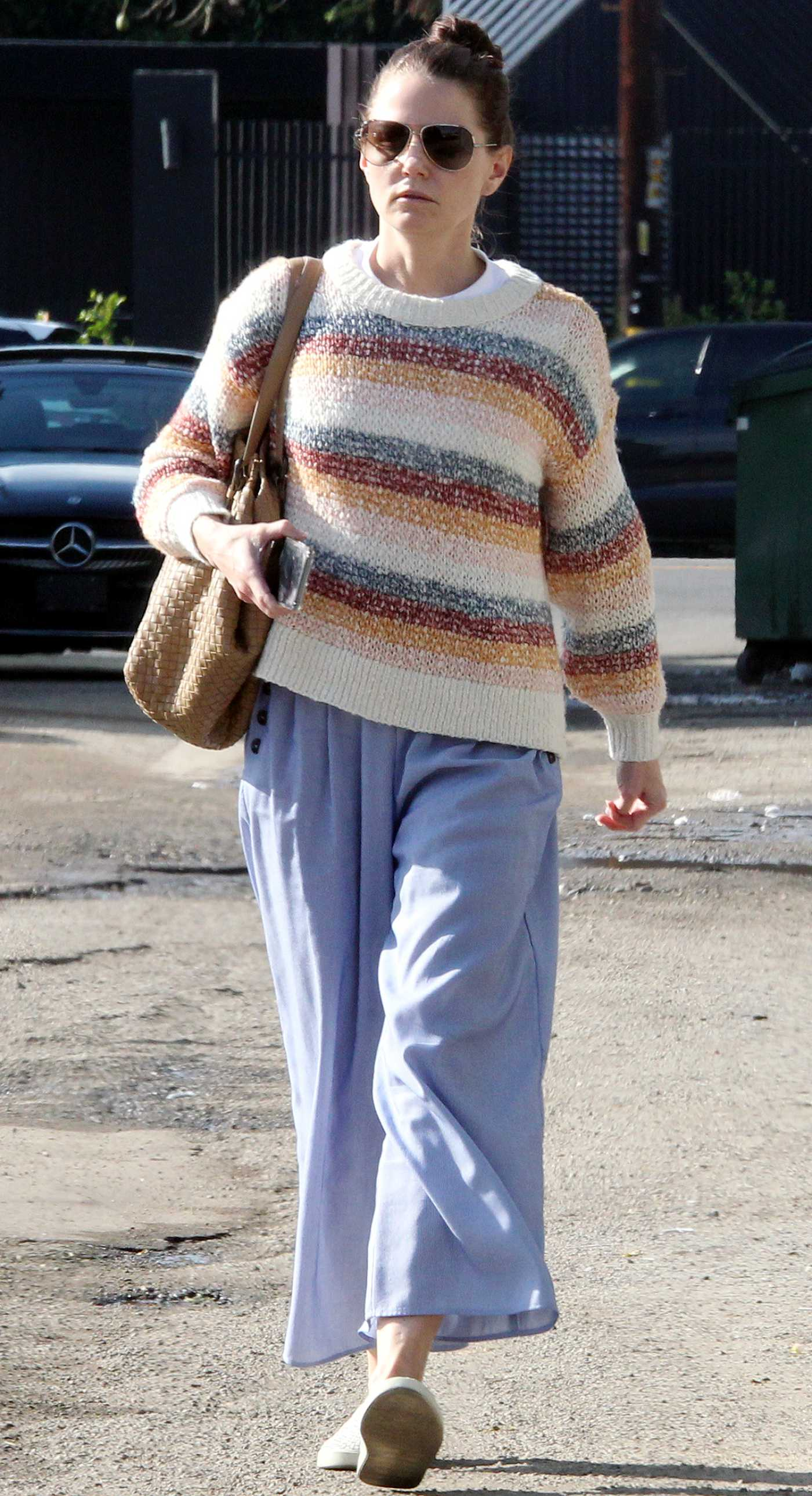 Jennifer Morrison in a Striped Sweater Was Seen Out in West Hollywood 12/11/2019