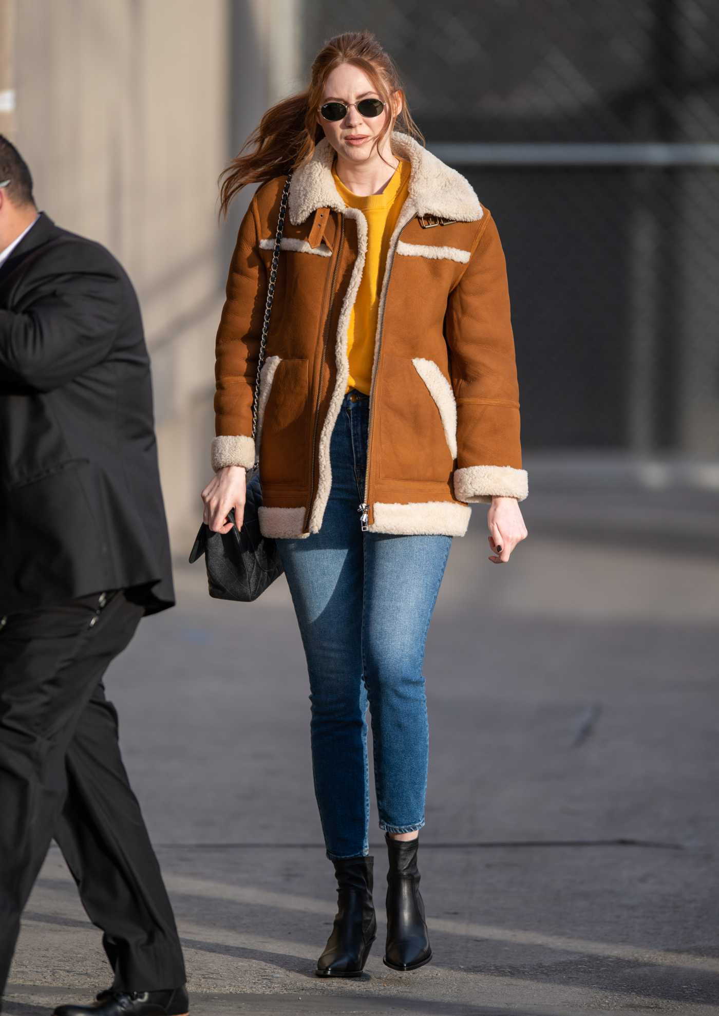 Karen Gillan in a Beige Sheepskin Jacket Arrives at the Jimmy Kimmel Live in Los Angeles 12/17/2019