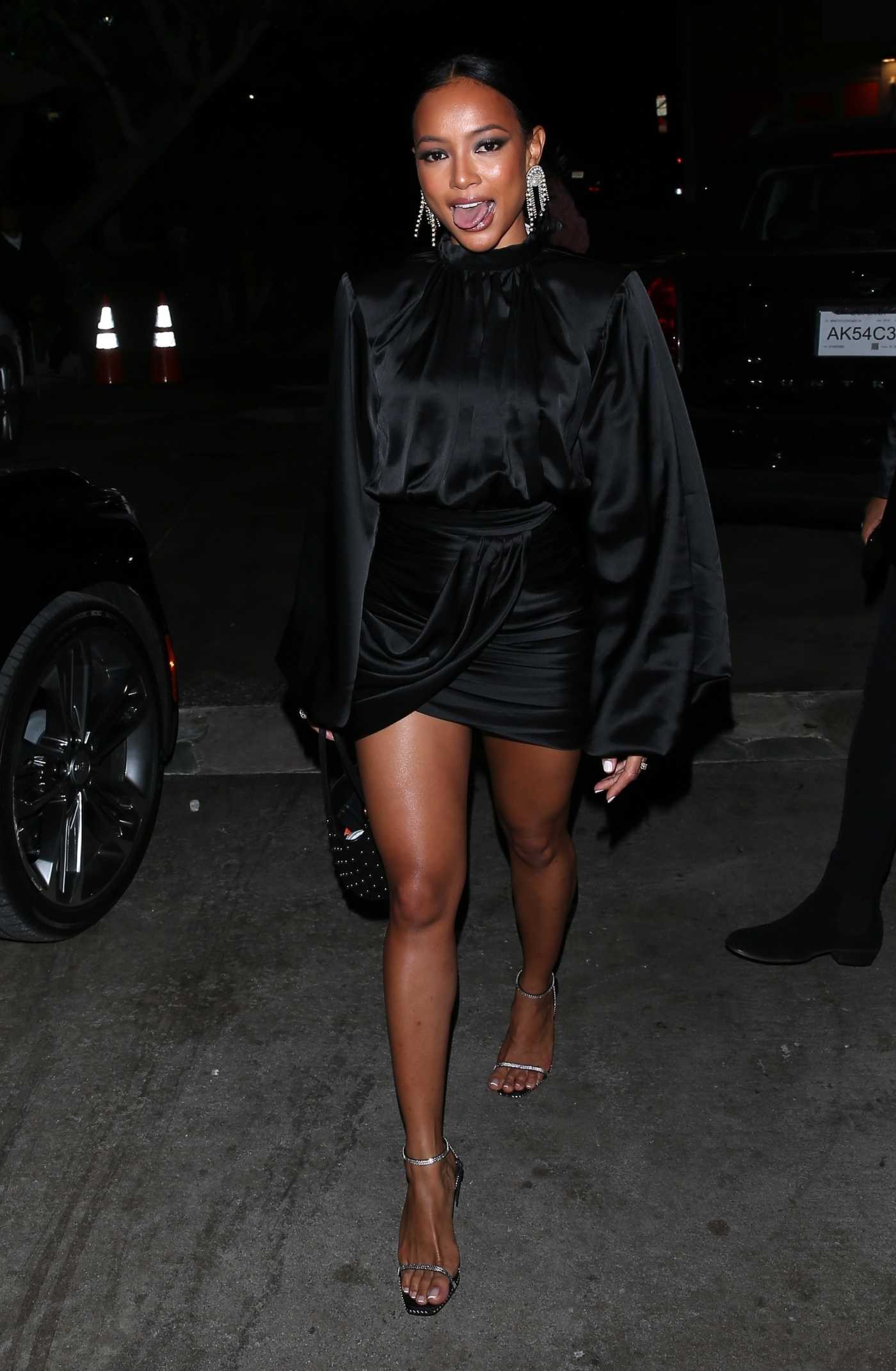Karrueche Tran in a Black Dress Leaves AGO Restaurant in West Hollywood 12/14/2019