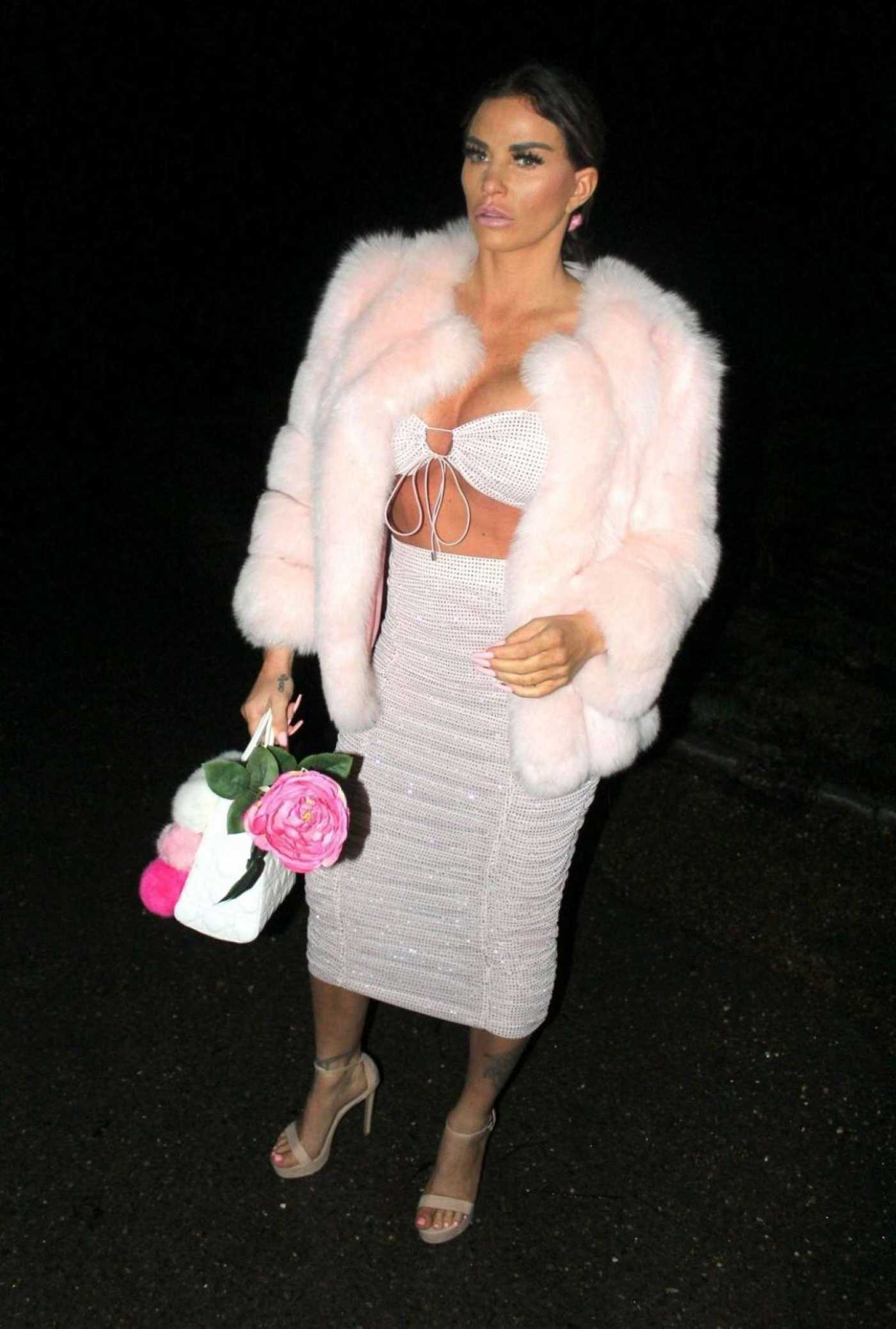 Katie Price in a Short Pink Fur Coat Night Out in London 12/27/2019