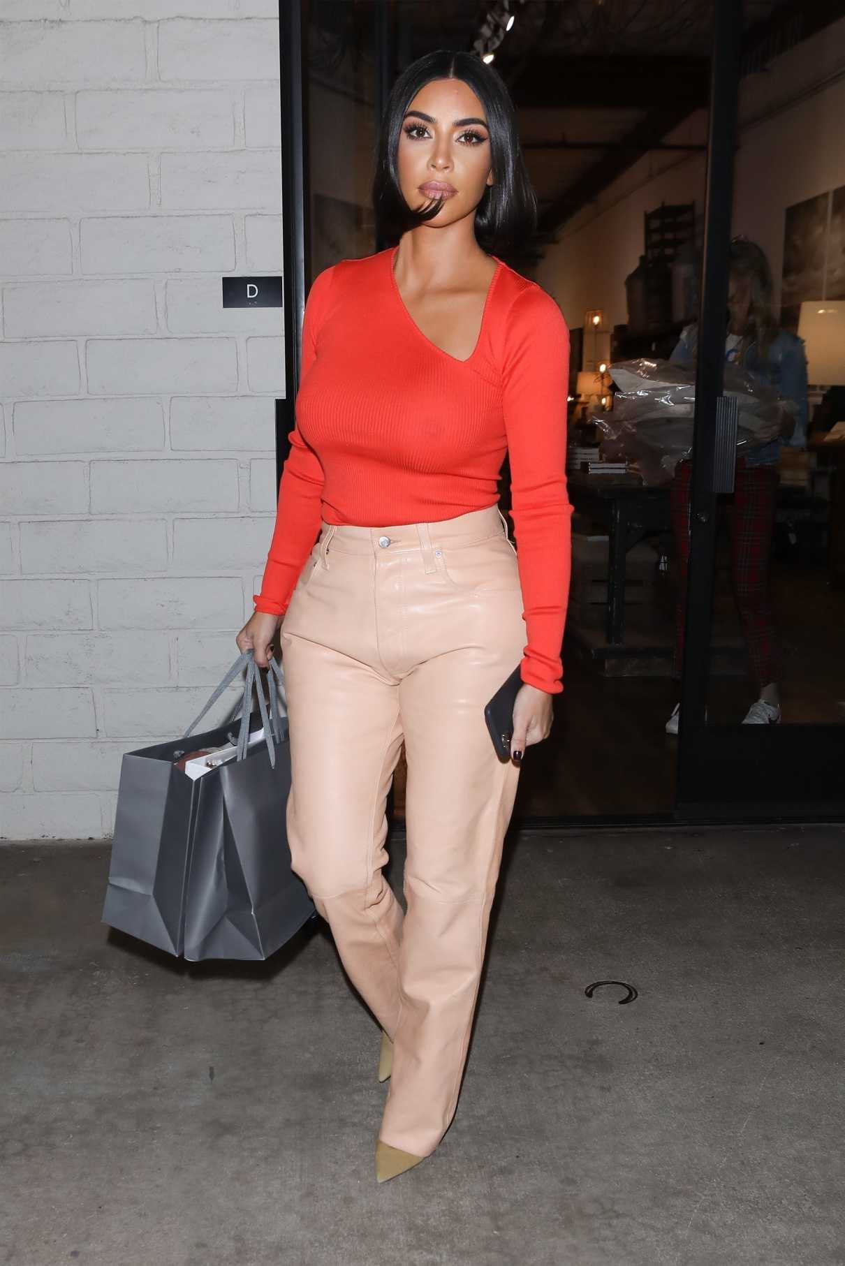Kim Kardashian in a Red Blouse Was Seen Out in Agoura Hills 12/07/2019