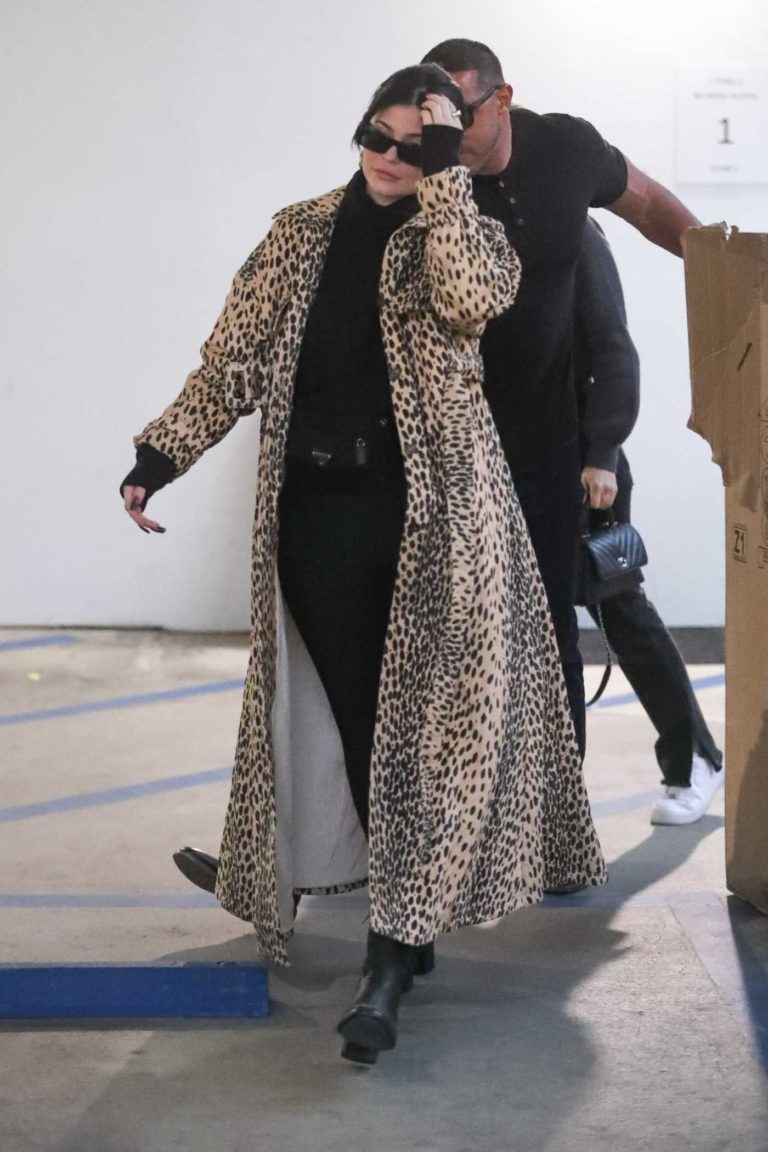 Kylie Jenner in a Leopard Print Coat