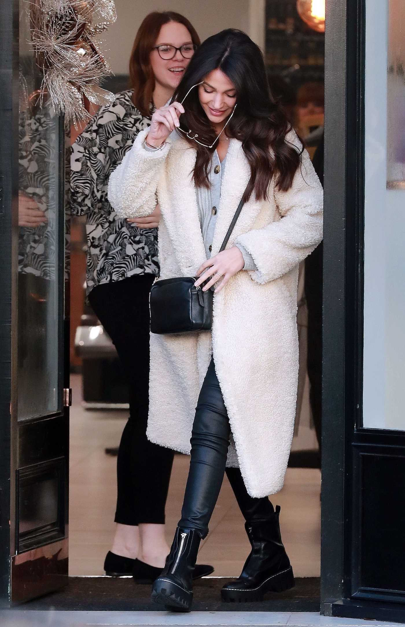 Michelle Keegan in a White Fur Coat Leaves the Terence Paul Hairdressing in Hale 12/21/2019