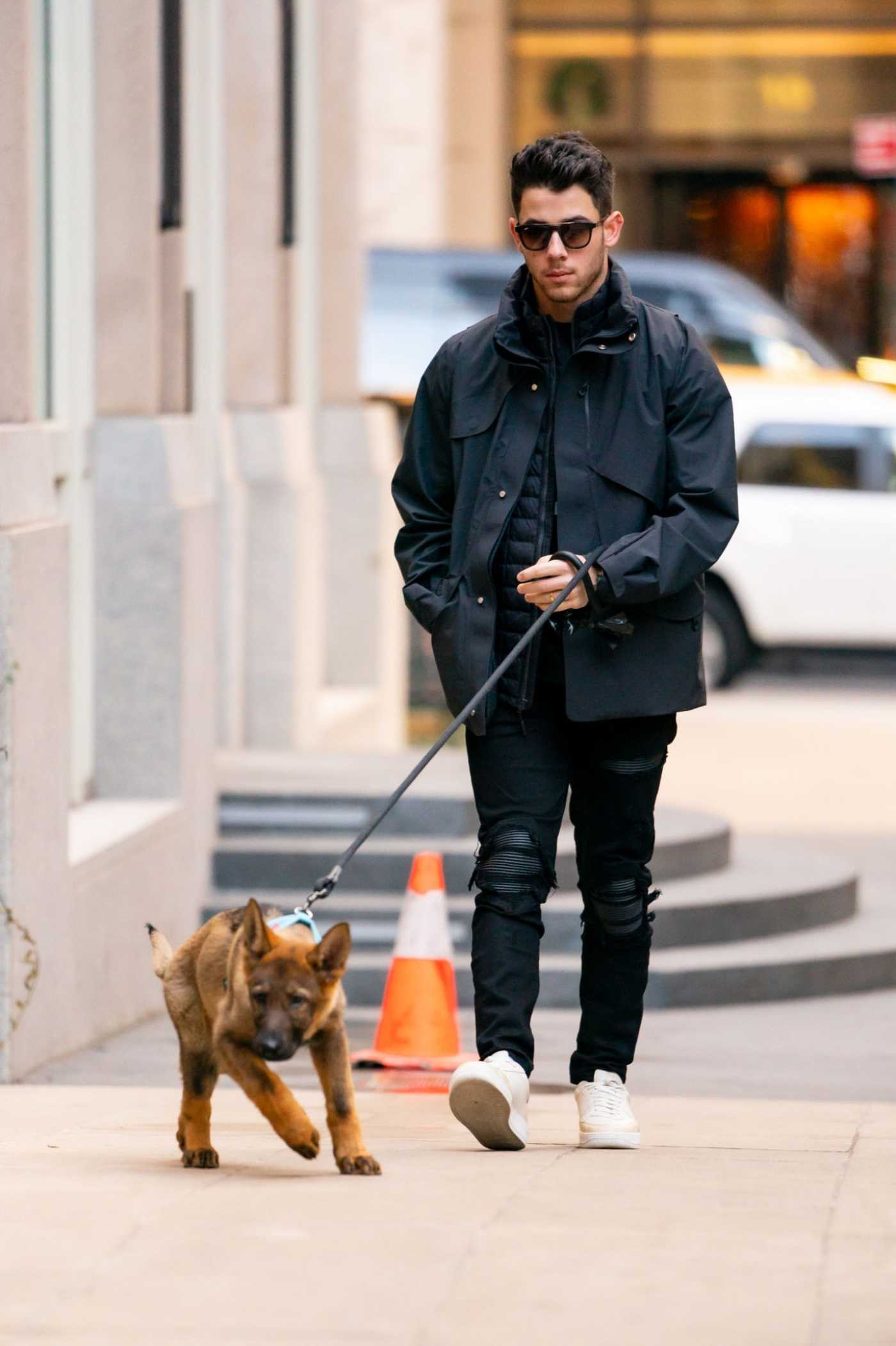 Nick Jonas in a Black Jacket Walks His Dog in New York City 11/30/2019