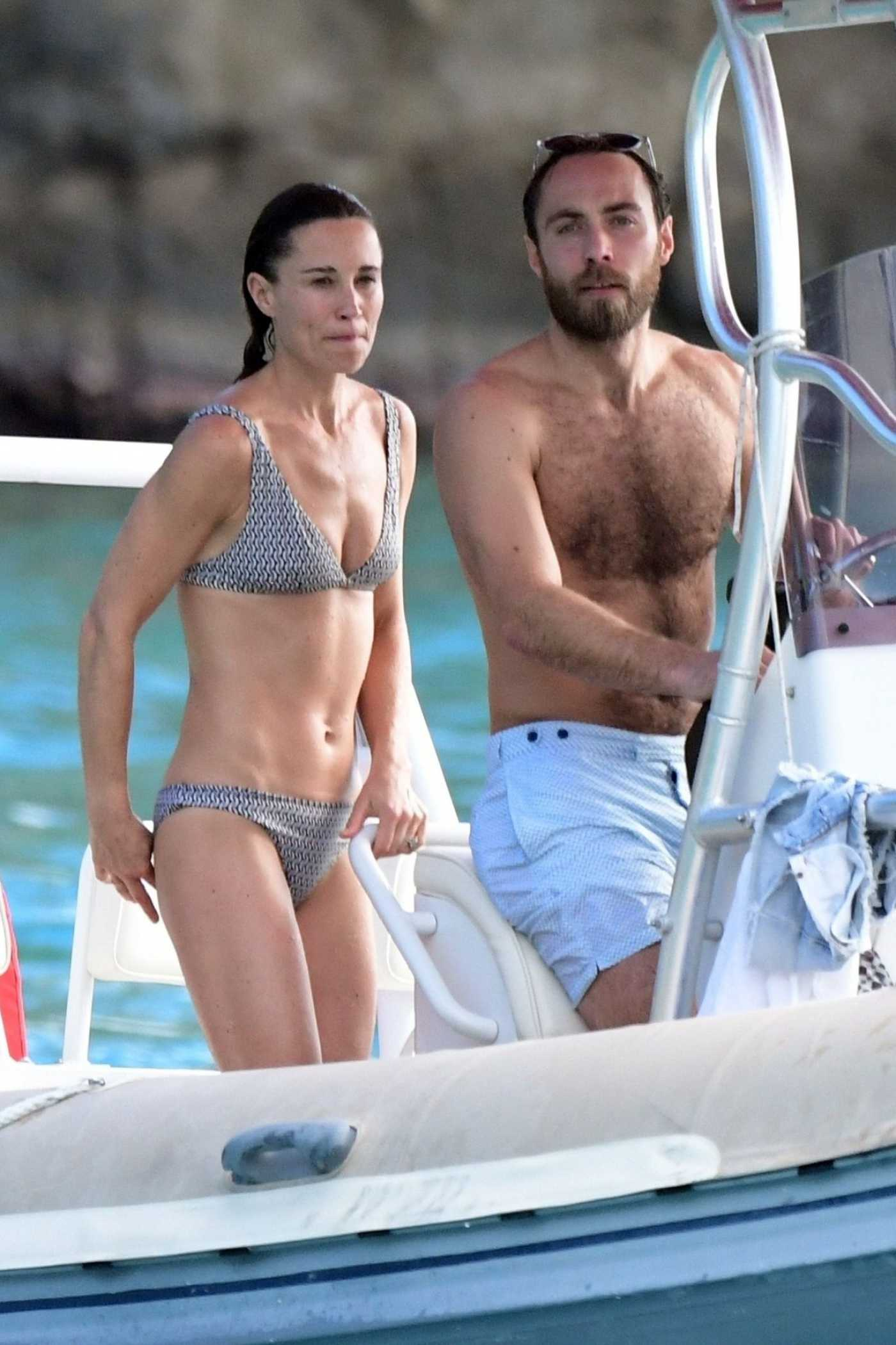 Pippa Middleton in a Gray Bikini Out with James Matthews on a Boat in St. Barths 12/30/2019