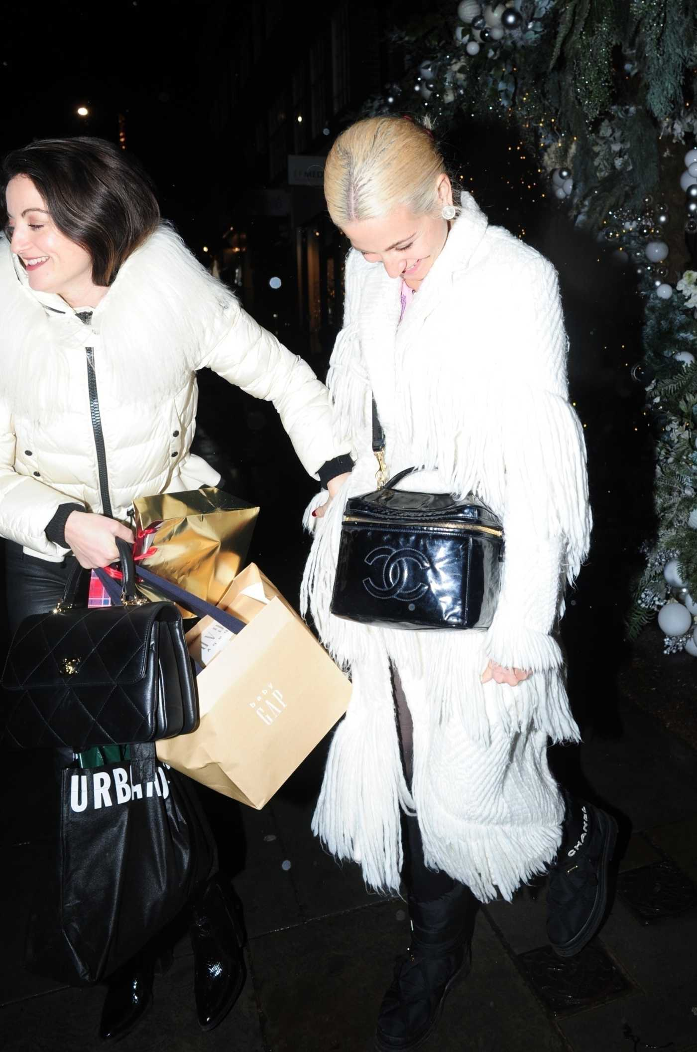 Pixie Lott in a White Coat Leaves the Ivy Chelsea Garden in London 12/22/2019