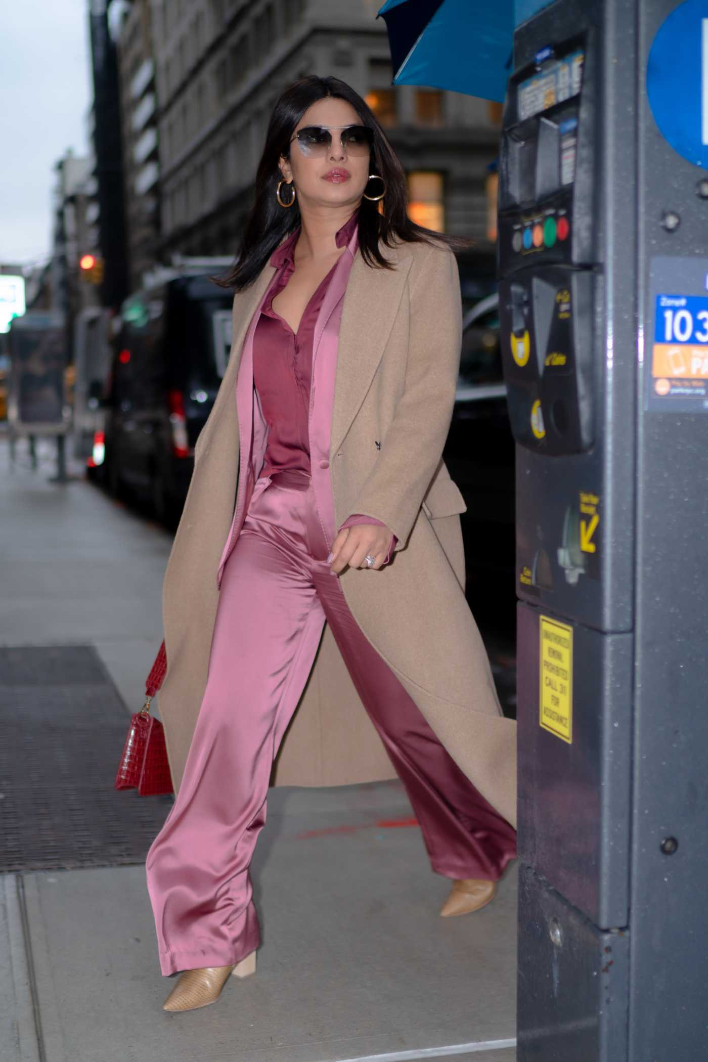 Priyanka Chopra in a Beige Coat Was Seen Out in New York 12/17/2019