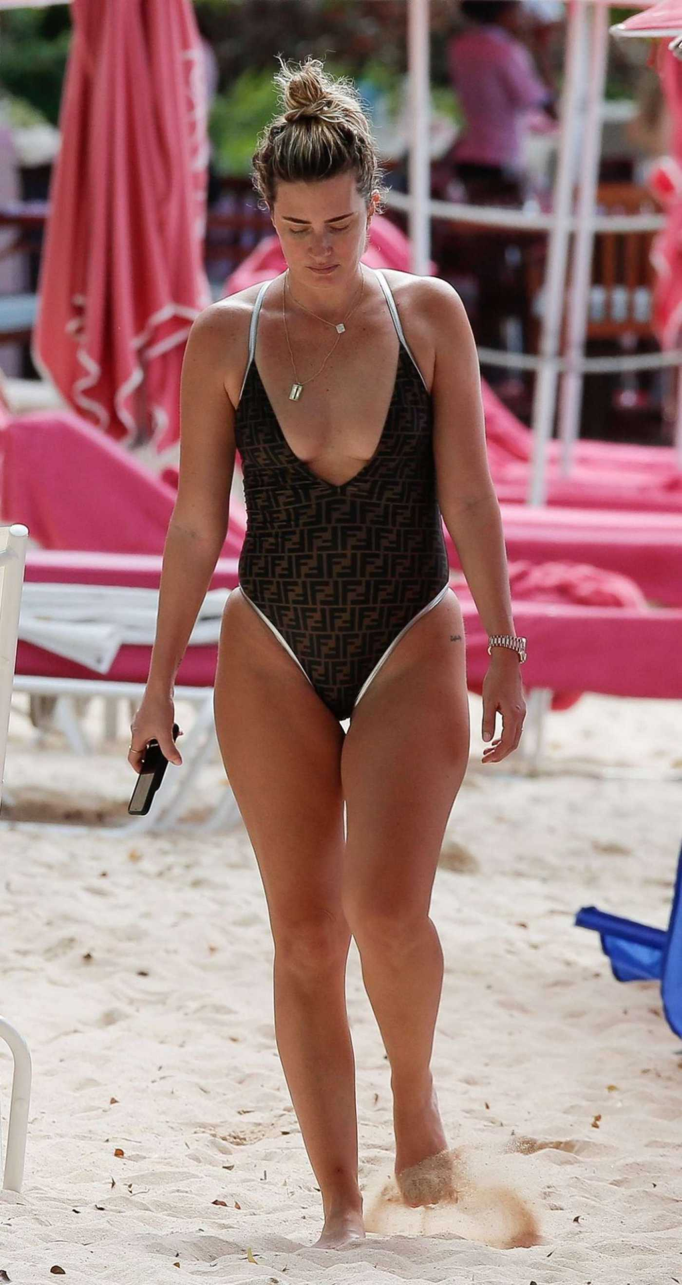 Rhea Durham in a Brown Fendi Swimsuit on the Beach in Barbados 12/29/2019