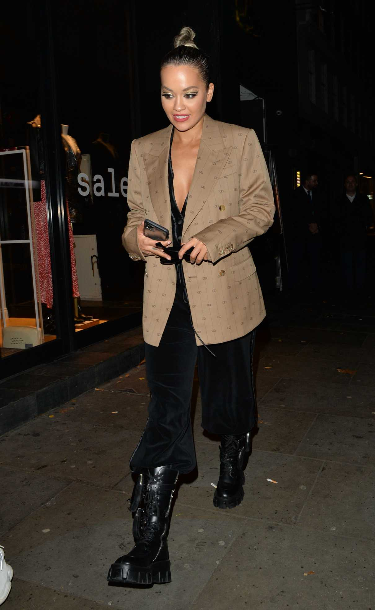 Rita Ora in a Beige Blazer Leaves Ours Restaurant in Kensington 12/07/2019