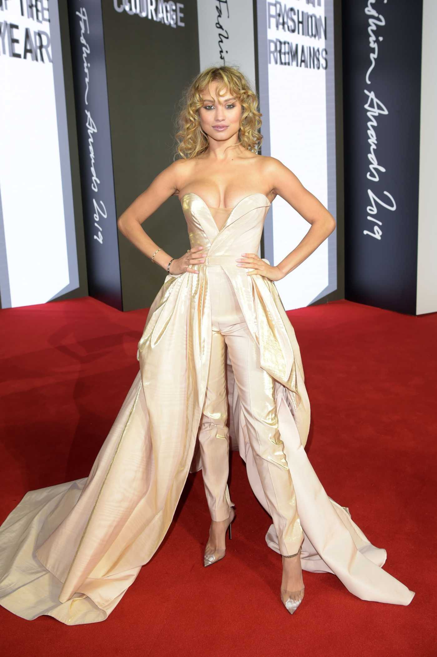 Rose Bertram Attends 2019 Fashion Awards at Royal Albert Hall in London 12/02/2019