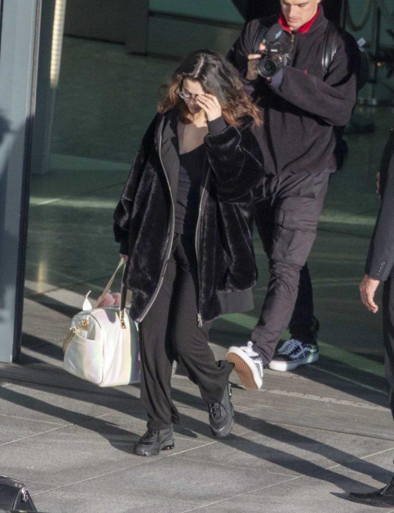 Selena Gomez in a Black Fur Coat
