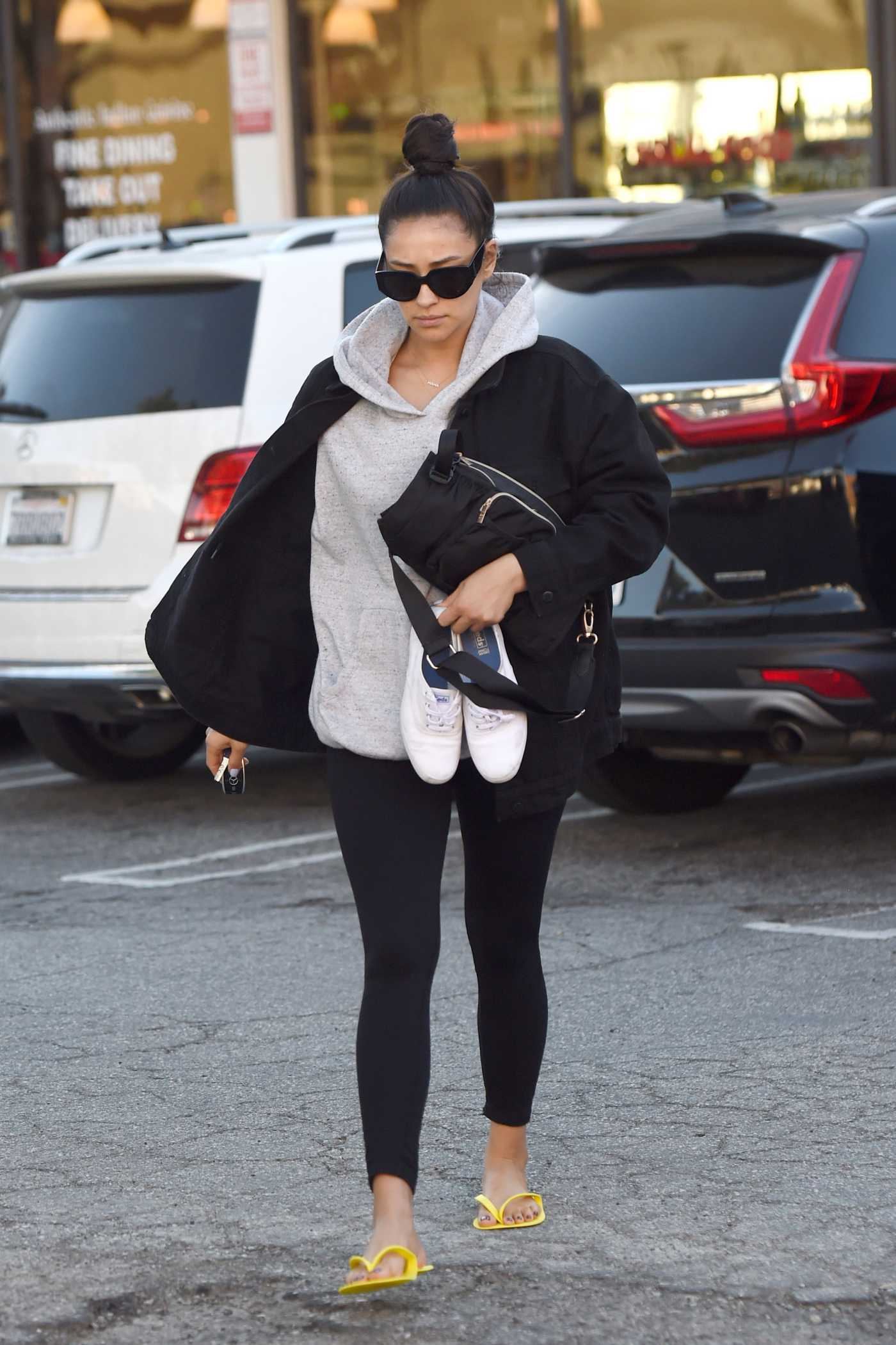 Shay Mitchell in a Yellow Flip-Flops Gets a Pedicure in LA 12/20/2019