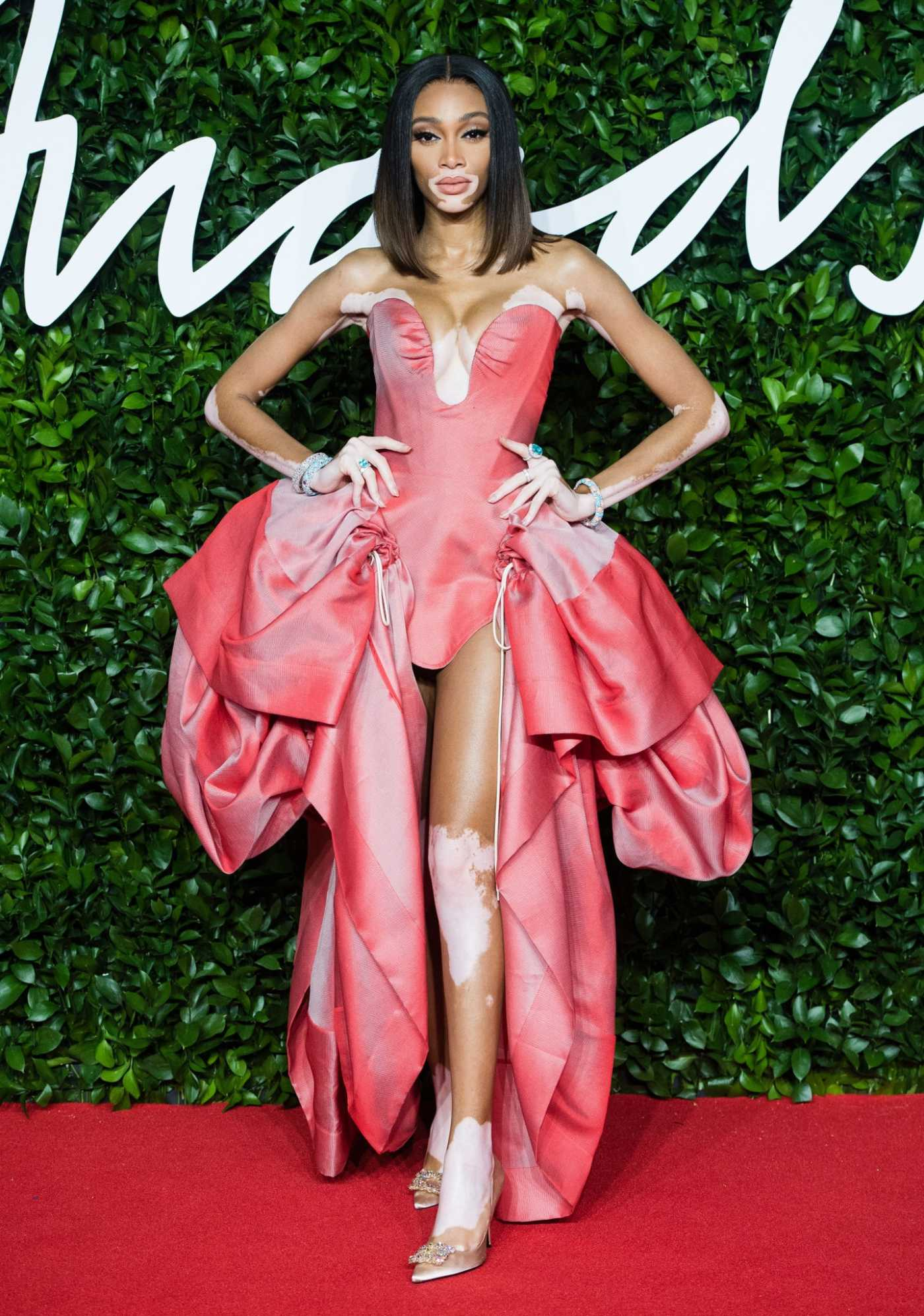 Winnie Harlow Attends 2019 Fashion Awards at Royal Albert Hall in London 12/02/2019