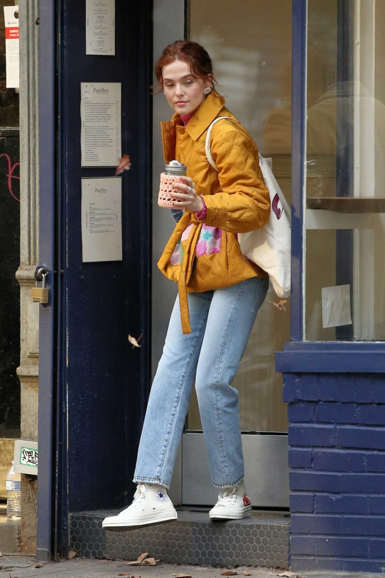 Zoey Deutch in a Yellow Jacket