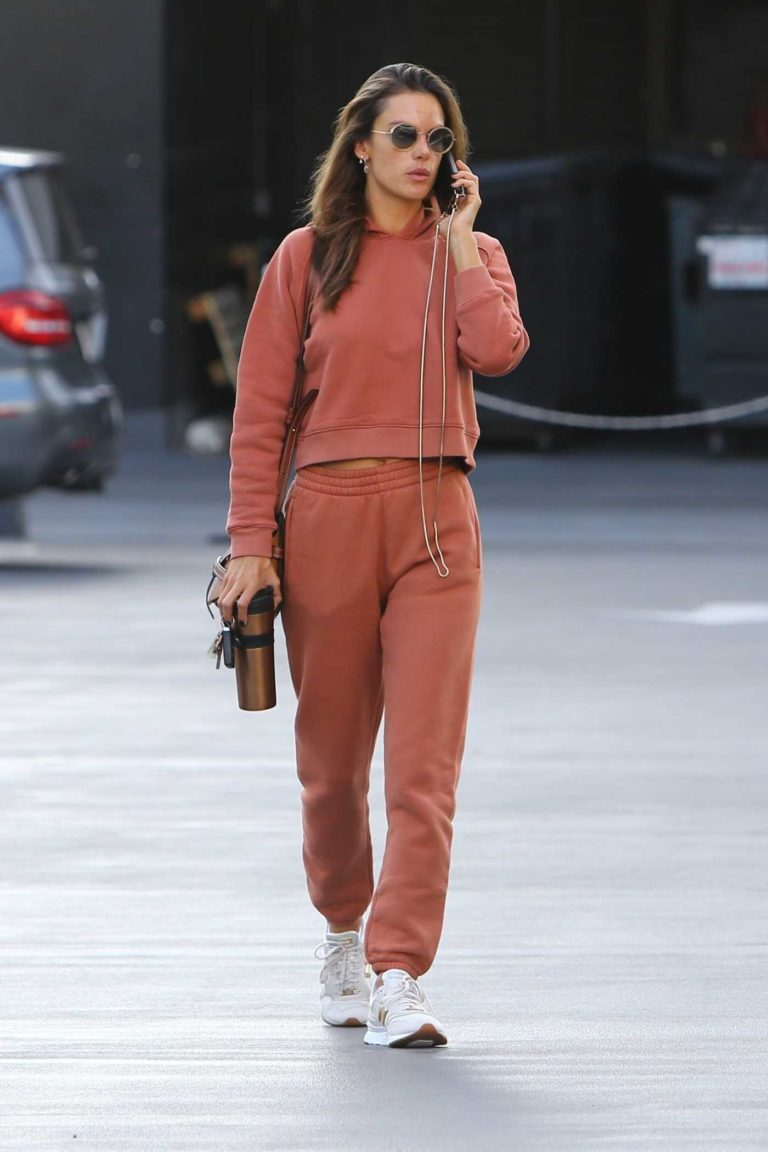 Alessandra Ambrosio in a Red Sweatsuit