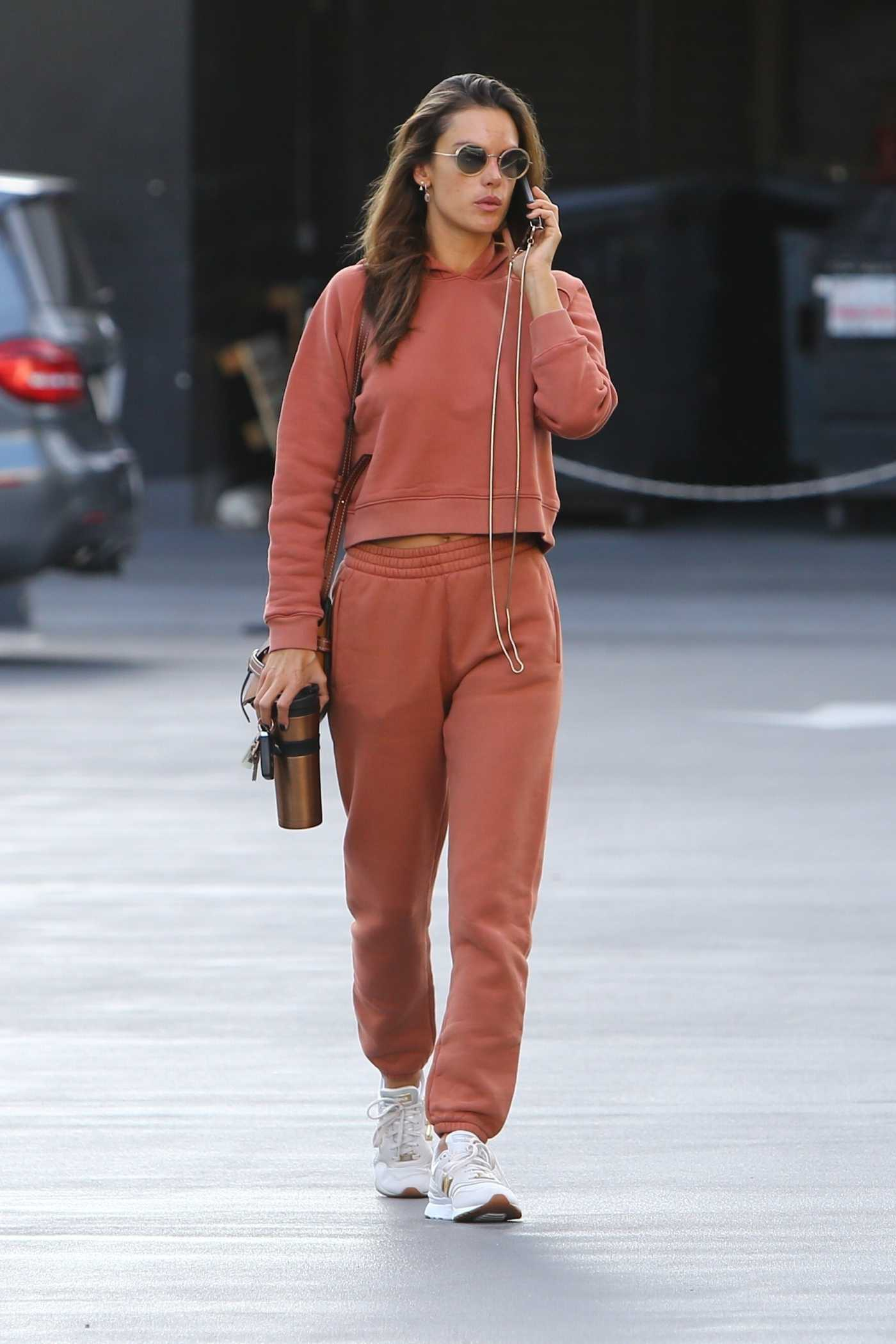 Alessandra Ambrosio in a Red Sweatsuit Was Seen Out in Brentwood 01/28/2020