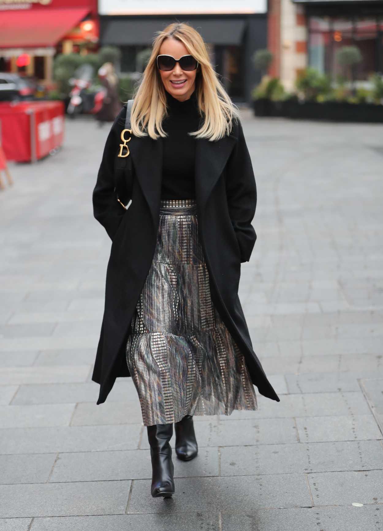Amanda Holden in a Black Coat Leaves the Heart Radio Studios in London 01/22/2020