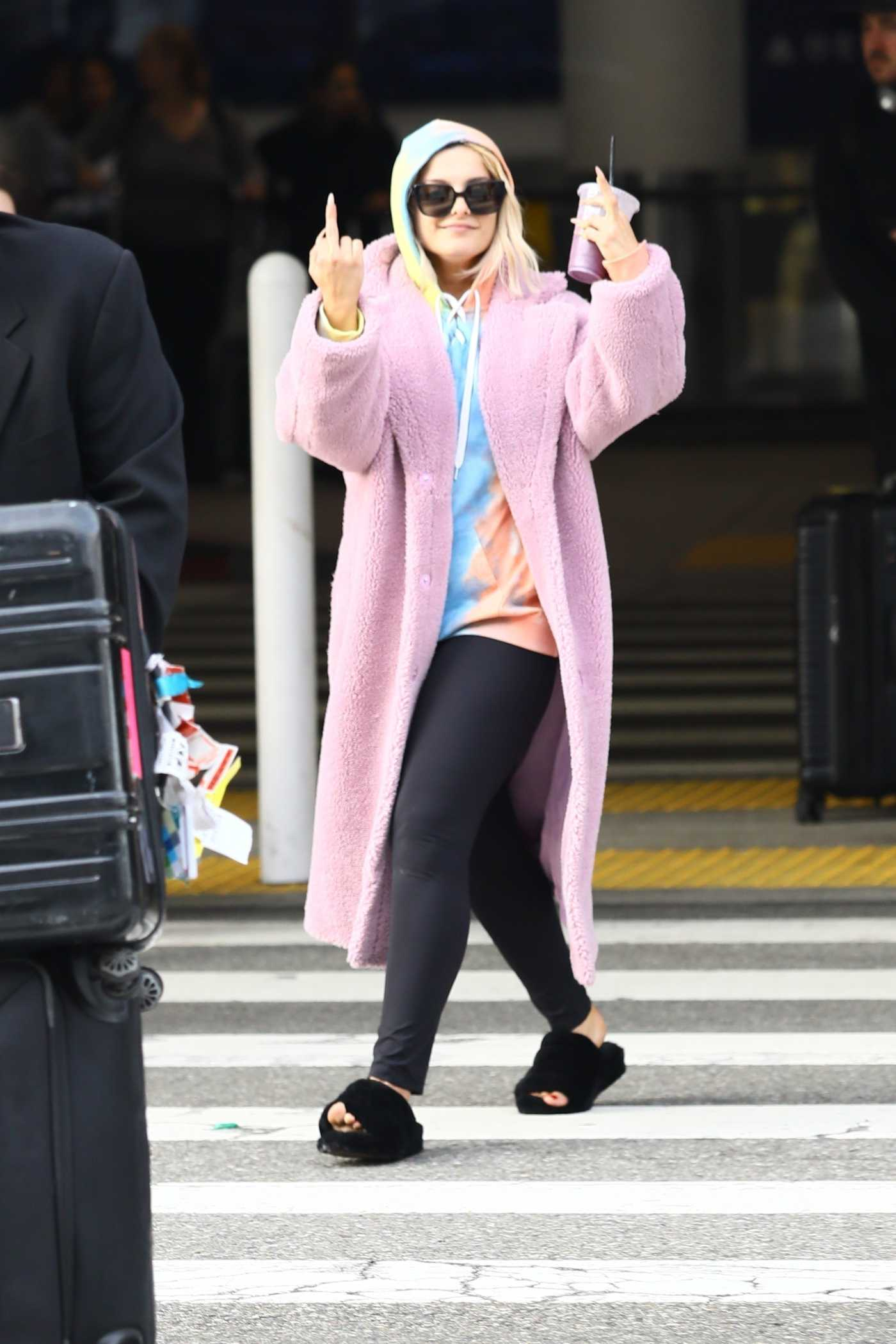 Bebe Rexha in a Pink Fur Coat Arrives at LAX Airport in Los Angeles 01/03/2019