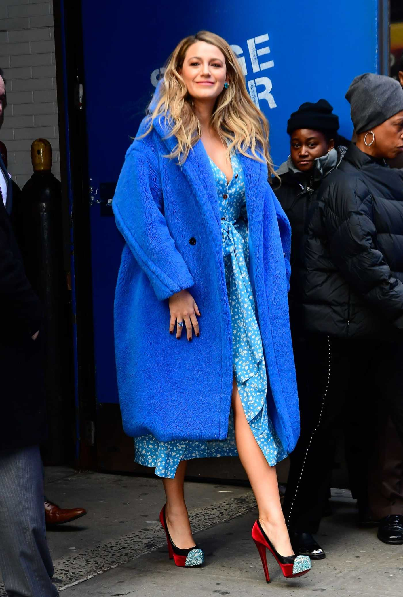 Blake Lively in a Blue Fur Coat Leaves Good Morning America in New York 01/28/2020