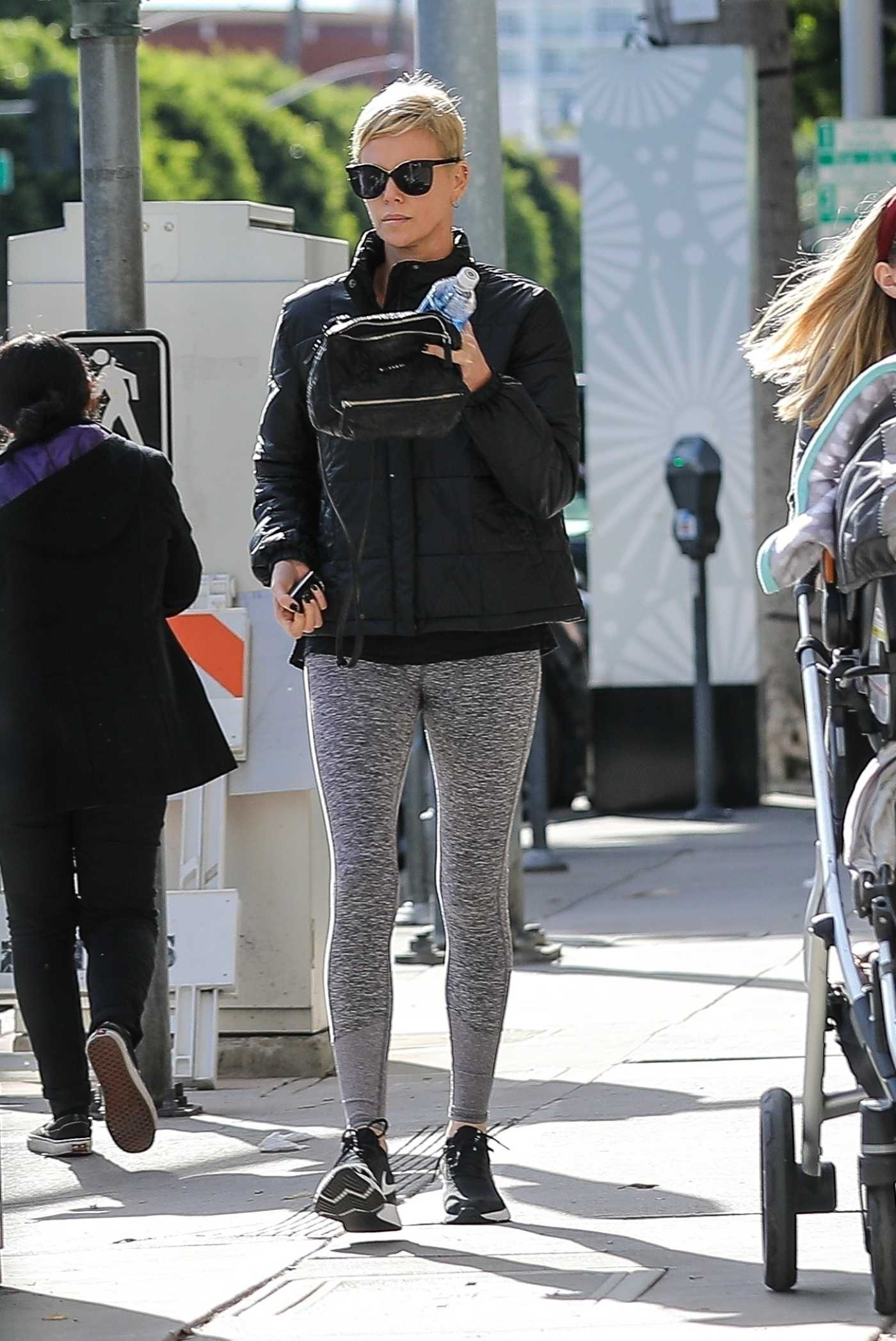 Charlize Theron in a Gray Leggings Hits Up a Gym in Beverly Hills 01/07/2020
