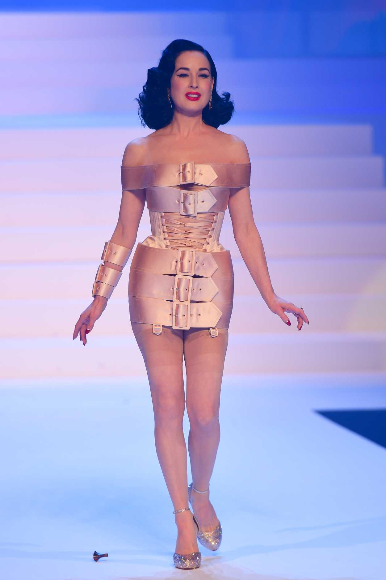 Dita Von Teese Attends the Jean Paul Gaultier Fashion Show During 2020 Paris Fashion Week in Paris 01/22/2020