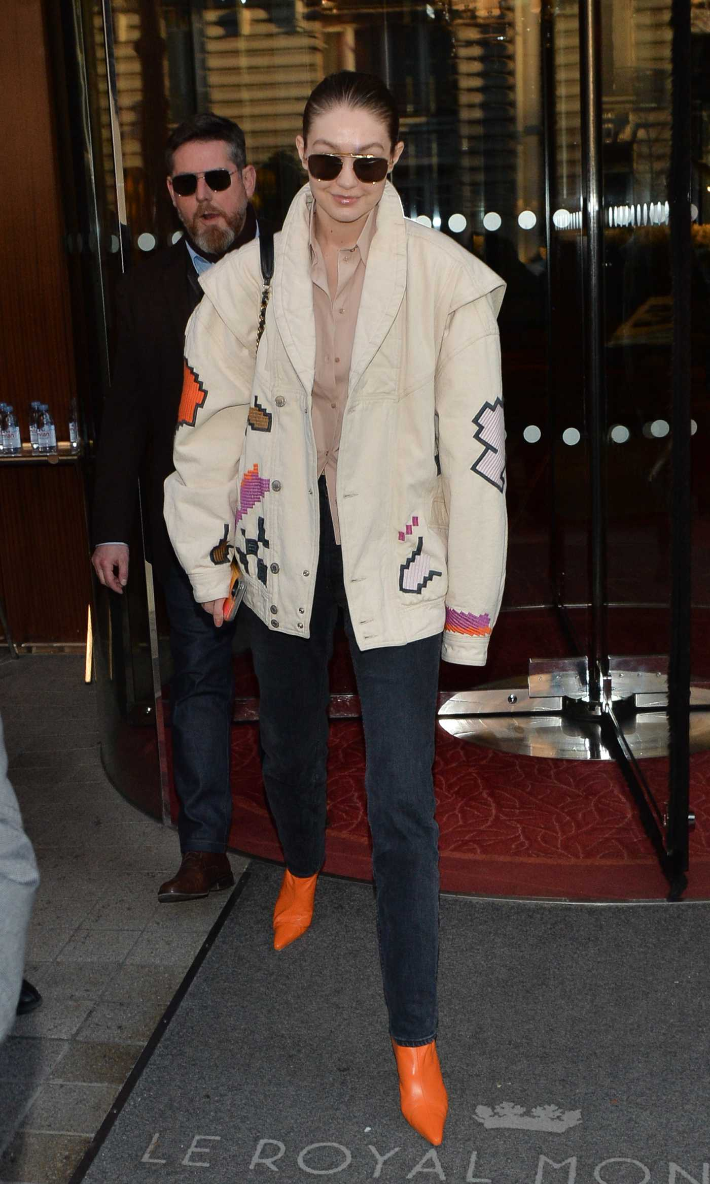Gigi Hadid in a Beige Jacket Was Seen Out in Paris 01/22/2020