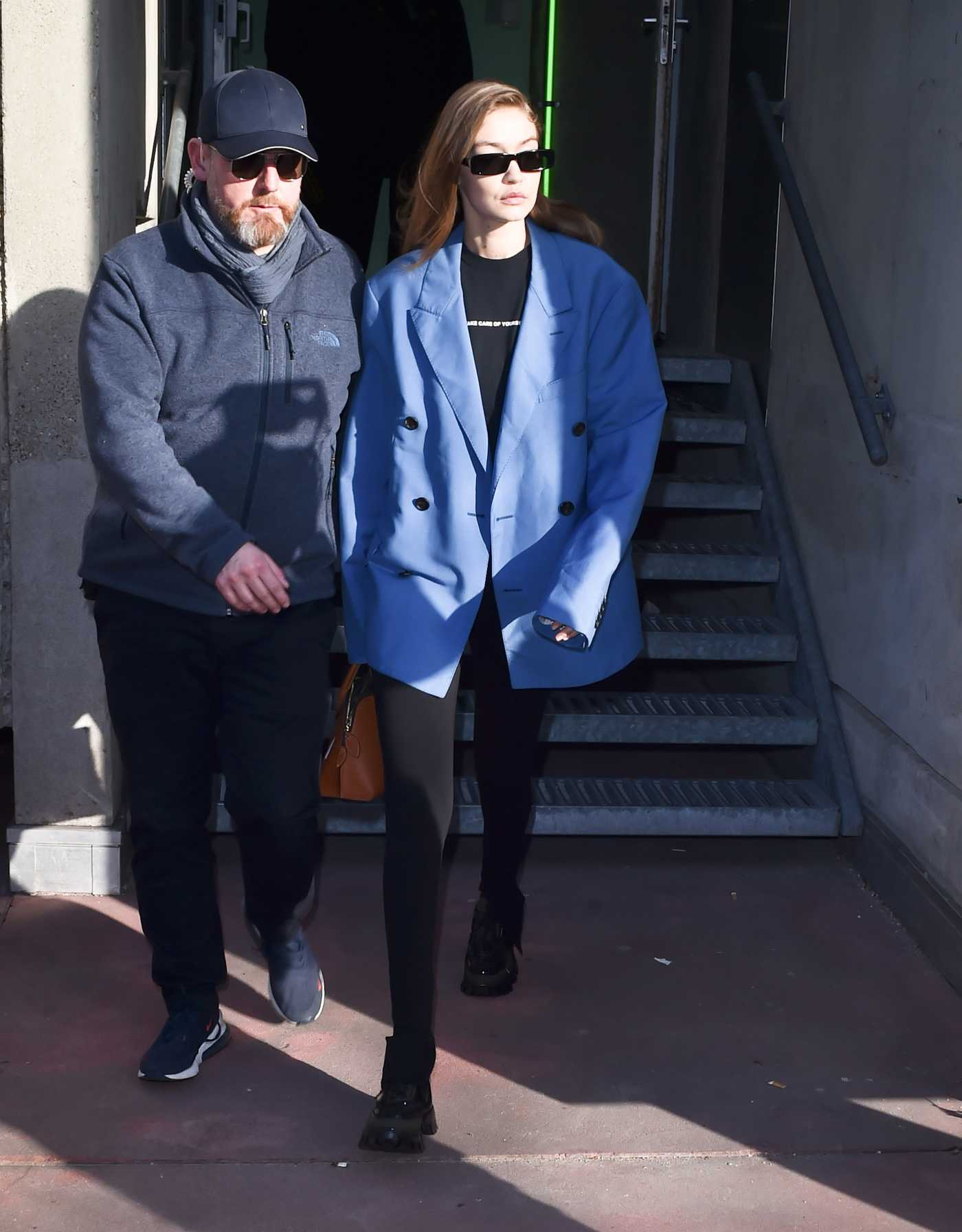 Gigi Hadid in a Blue Blazer Was Seen Out in Paris 01/19/2020
