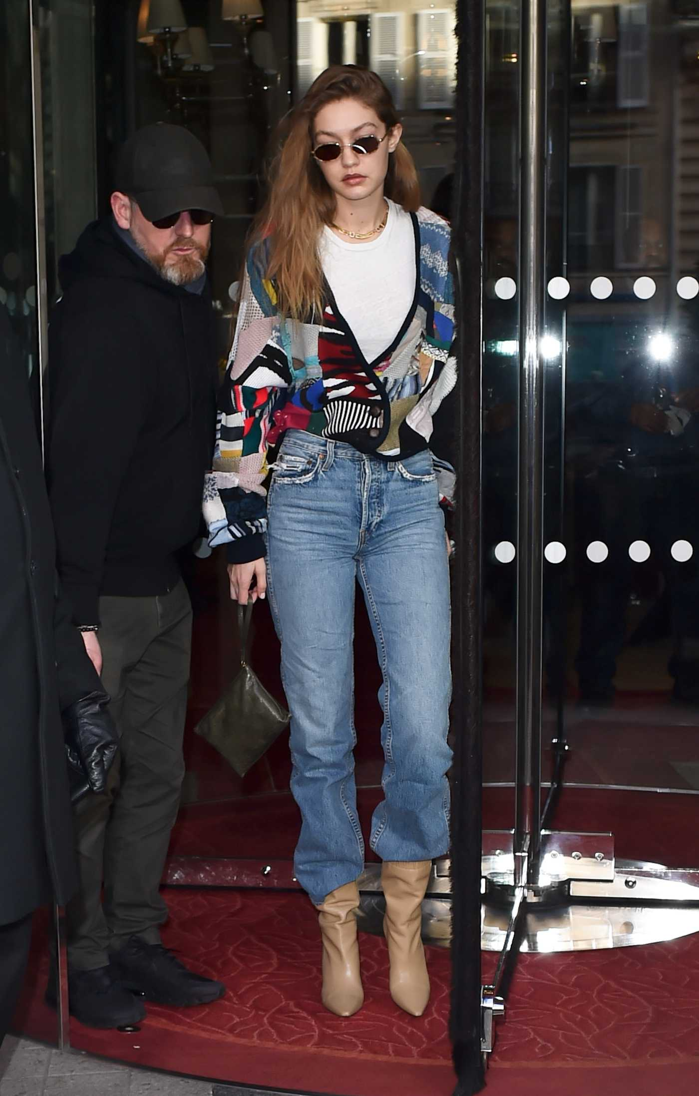 Gigi Hadid in a Blue Jeans Leaves the Royal Monceau Hotel in Paris 01/18/2020