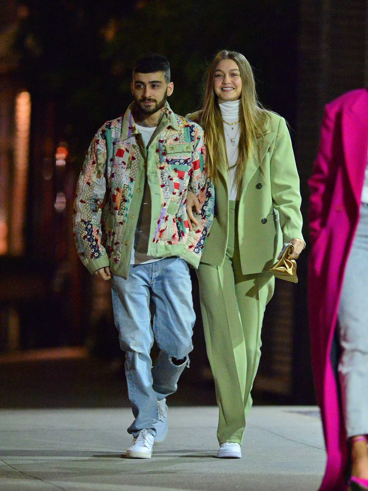 Gigi Hadid in a Green Suit Was Seen Out with Zayn Malik in NYC 01/11/2020