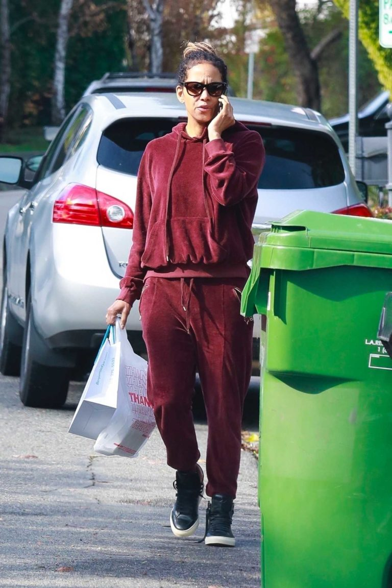 Halle Berry in a Burgundy Sweatsuit