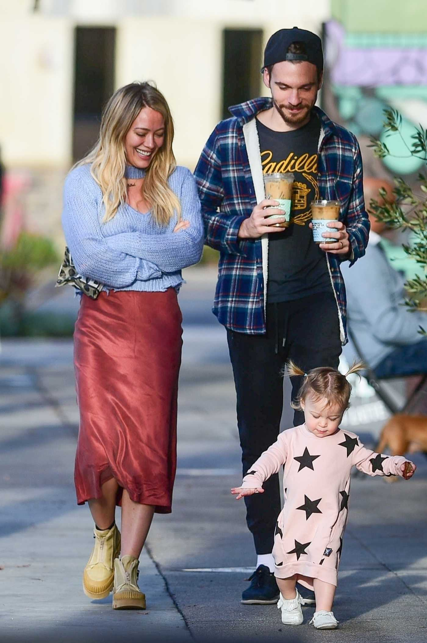 Hilary Duff in a Red Skirt Was Seen Out with Matthew Koma in Los Angeles 01/16/2020