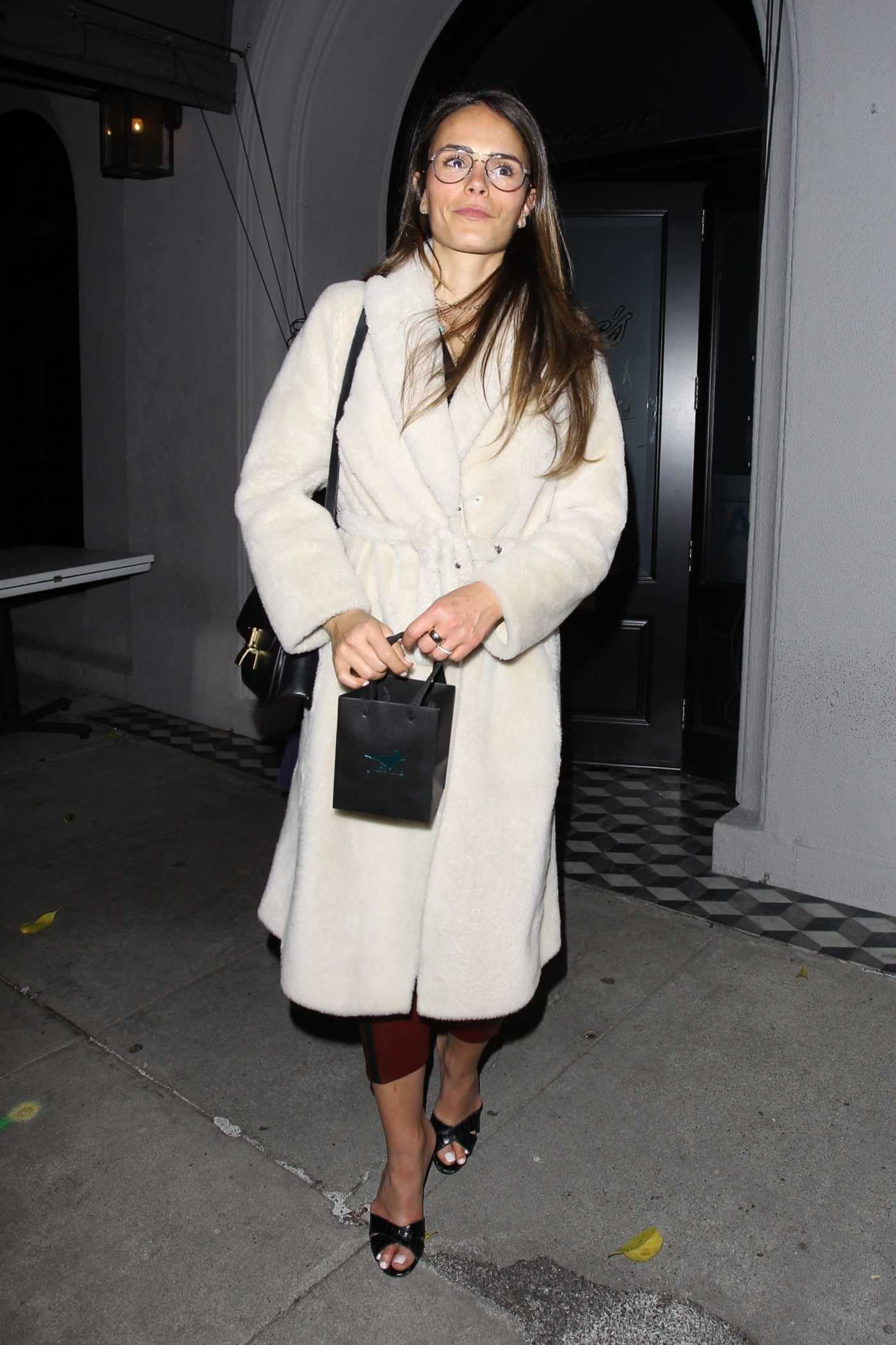 Jordana Brewster in a White Fur Coat Leaves Craig's Restaurant in West Hollywood 01/18/2020