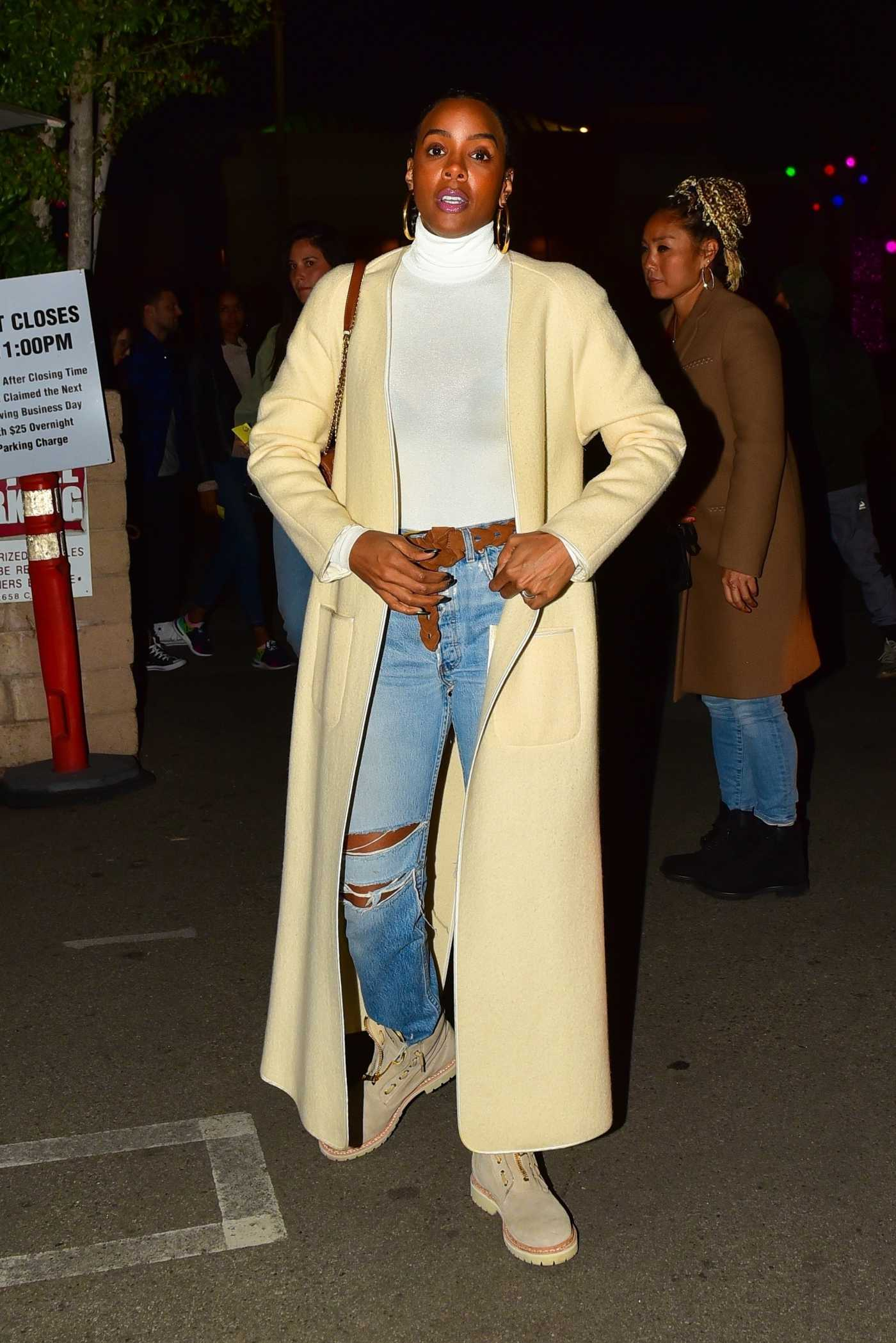 Kelly Rowland in a Yellow Cardigan Night Out in Beverly Hills 12/30/2019
