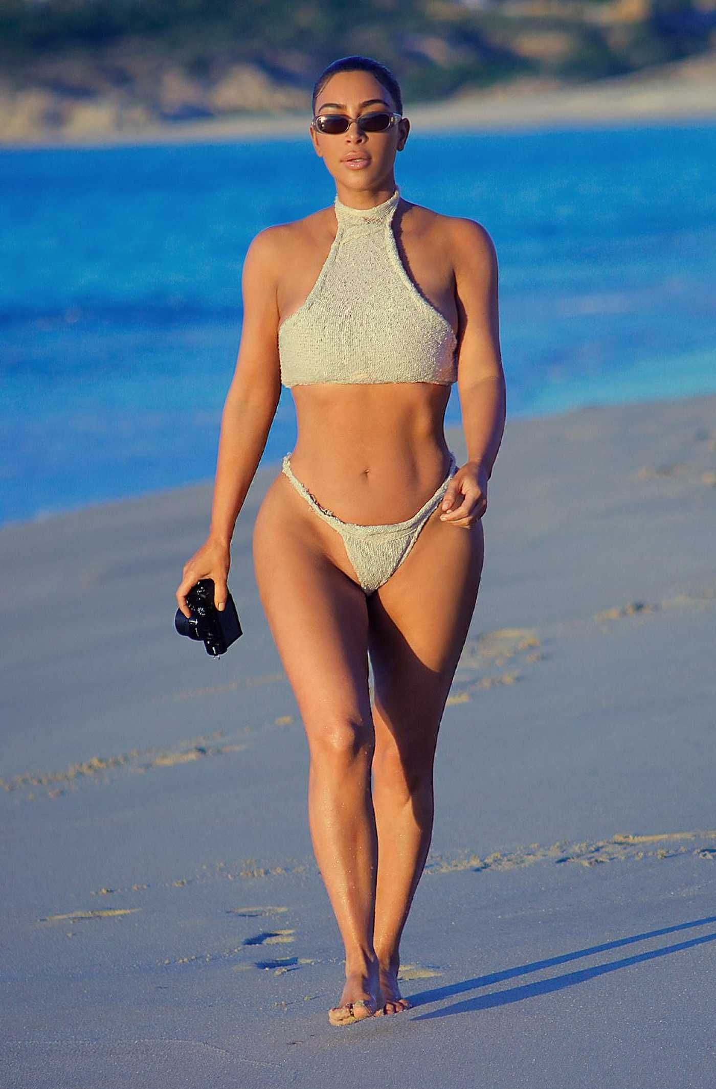 Kim Kardashian in a Beige Bikini on the Beach in Mexico 01/14/2020