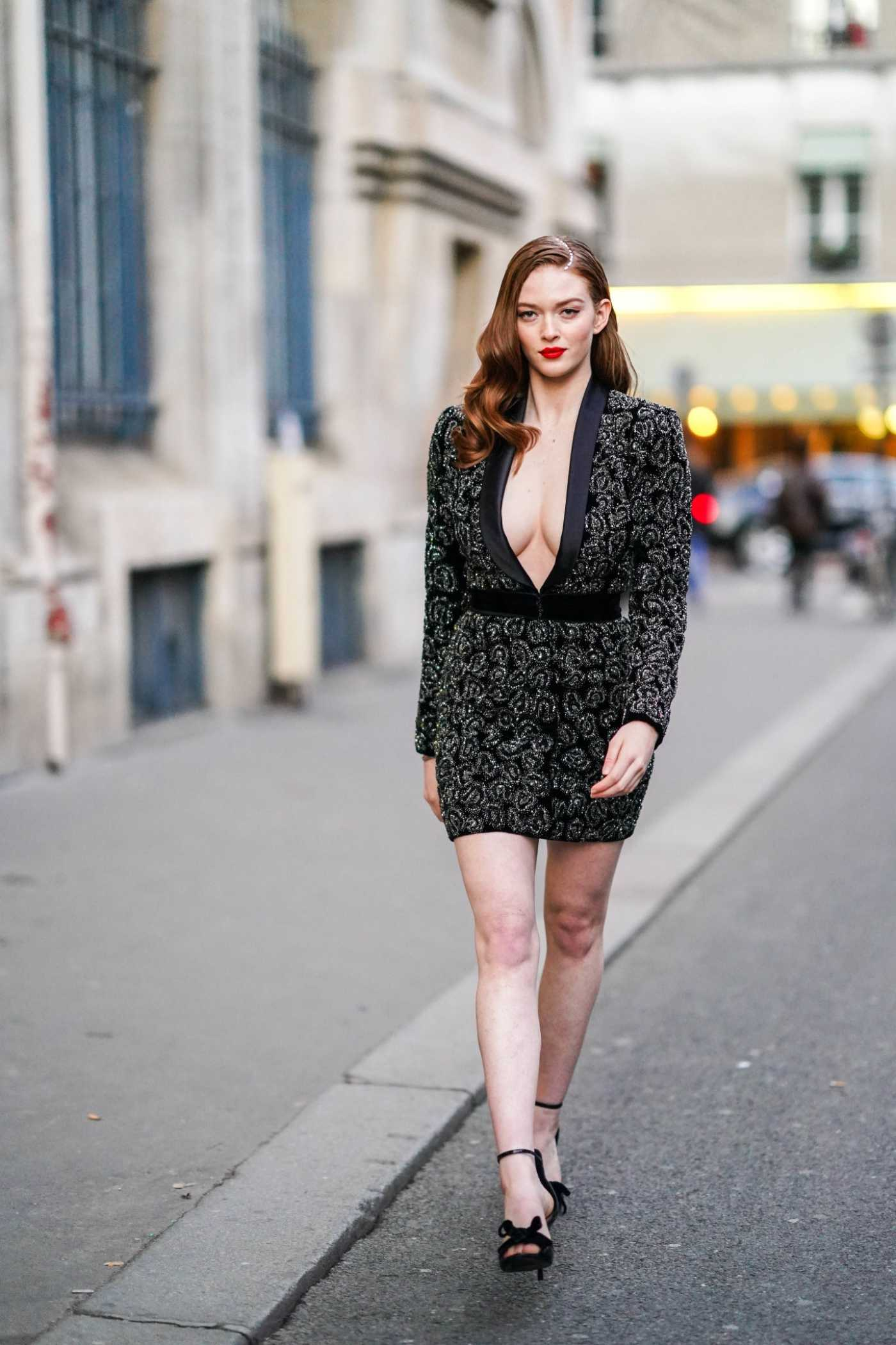 Larsen Thompson in a Gray Dress Was Seen Out in Paris 01/21/2020