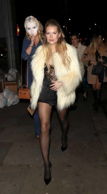 Lottie Moss in a Beige Fur Coat