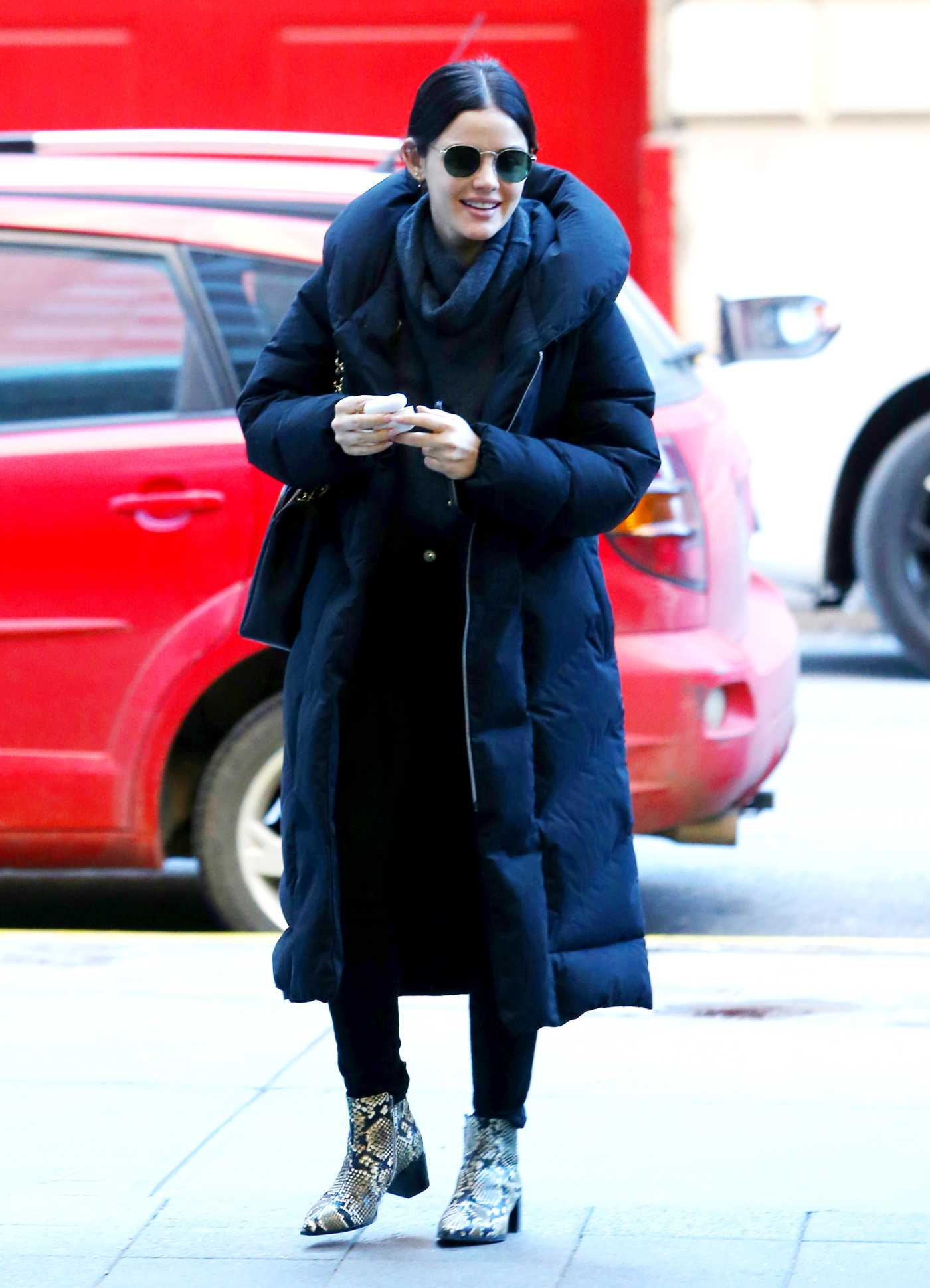 Lucy Hale in a Black Puffer Coat Was Seen Out in NYC 01/20/2020