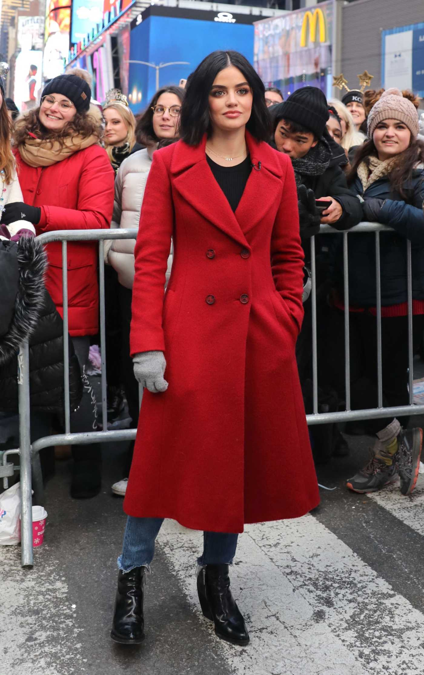 Lucy Hale in a Red Coat Attends 2020 Dick Clark's New Year's Rockin' Eve in New York 12/31/2019