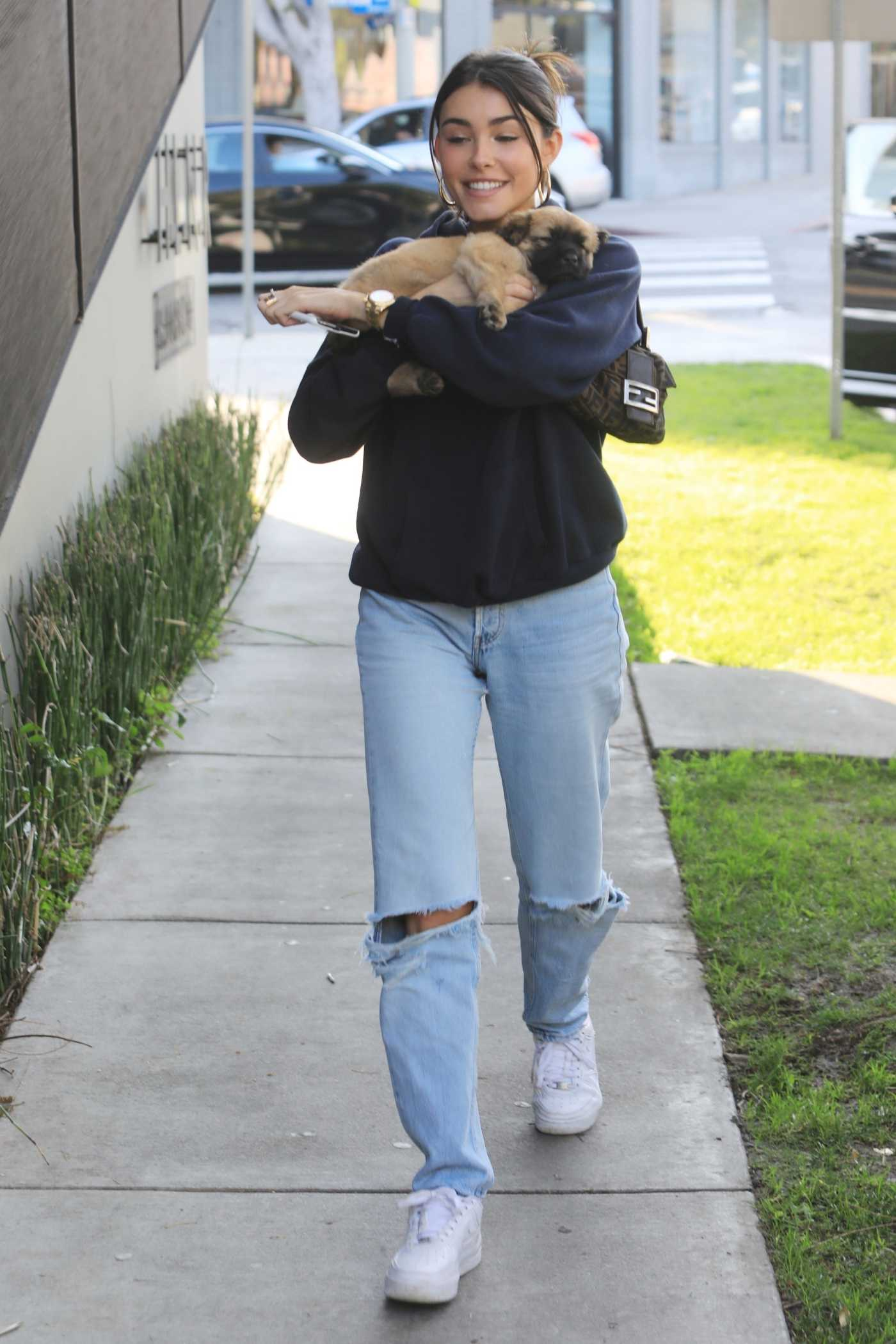 Madison Beer in a Blue Ripped Jeans Leaves the Cha Cha Matcha in West Hollywood 01/14/2020