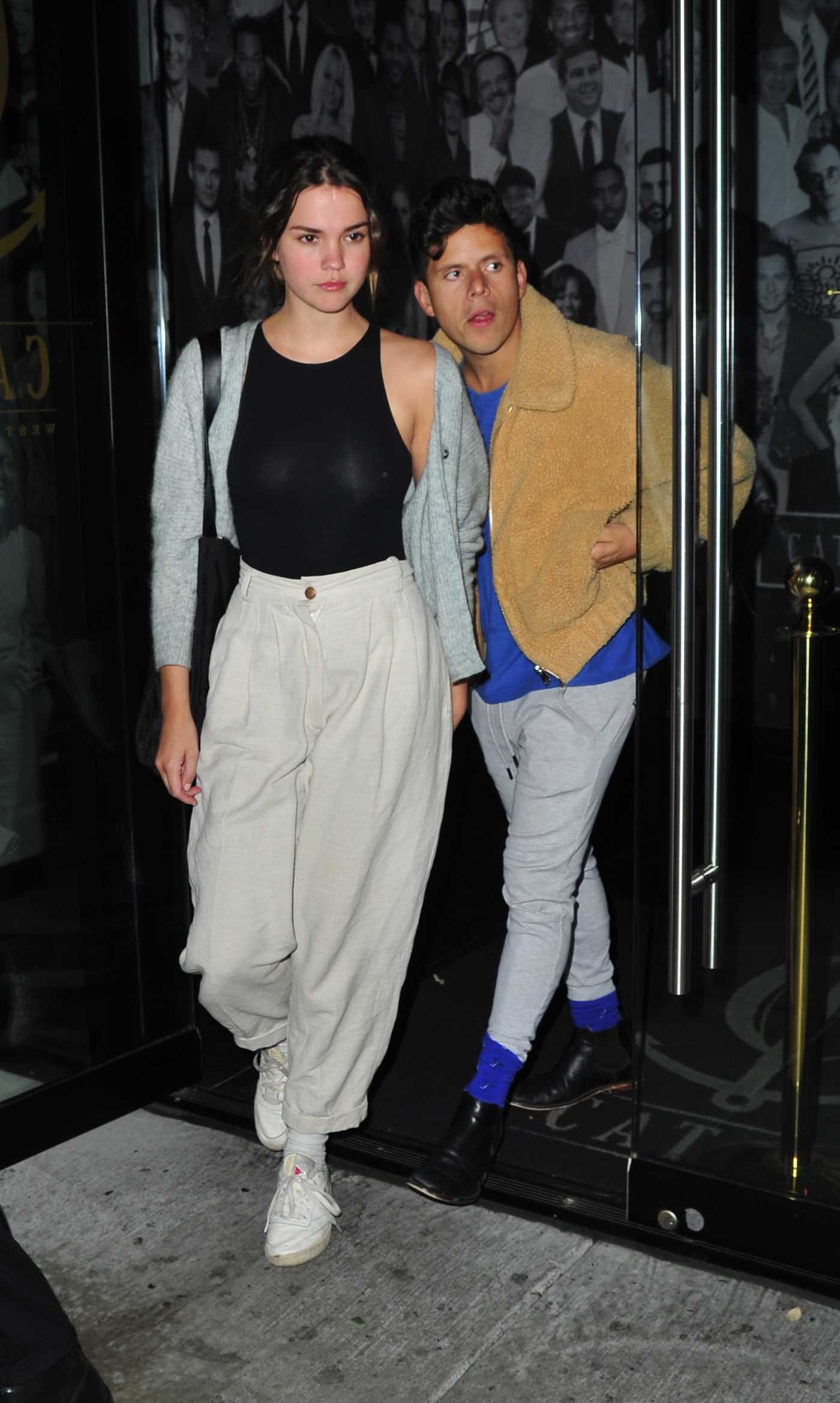 Maia Mitchell in a Beige Pants Leaves Out with Rudy Mancuso Catch LA Restaurant in West Hollywood 01/12/2020