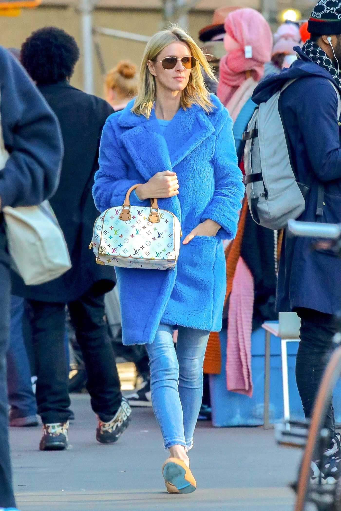 Nicky Hilton in a Blue Fur Coat Was Seen Out in New York City 01/10/2020