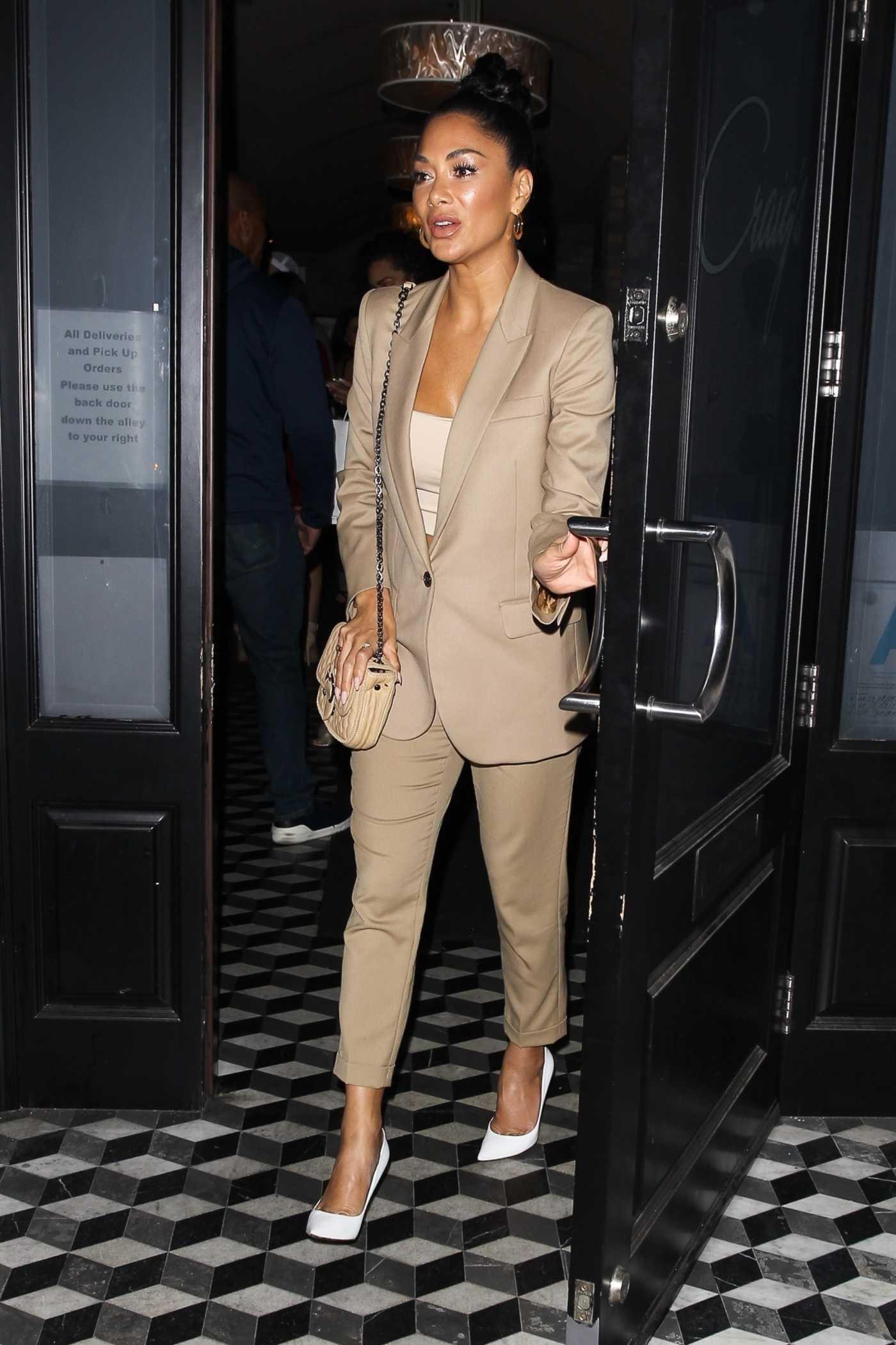 Nicole Scherzinger in a Beige Suit Leaves Craig's Restaurant in West Hollywood 01/24/2020