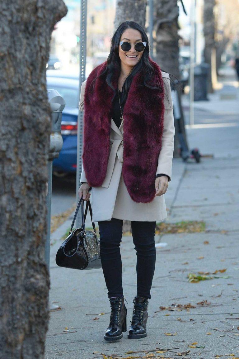 Nikki Bella in a Beige Coat