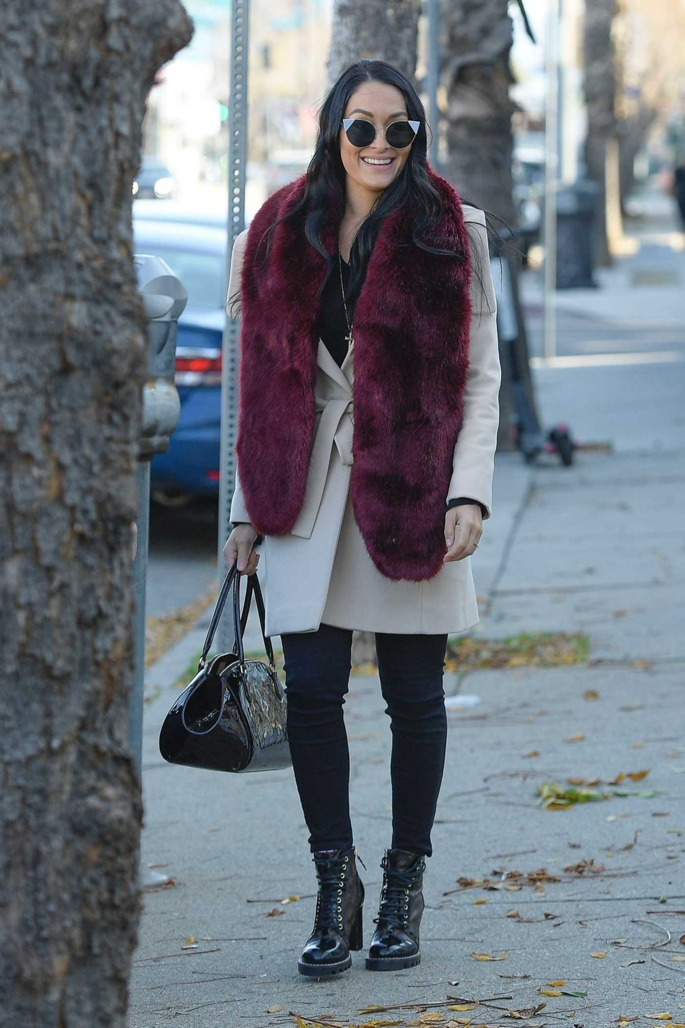 Nikki Bella in a Beige Coat Was Seen Out with Artem Chigvintsev in LA 01/09/2020