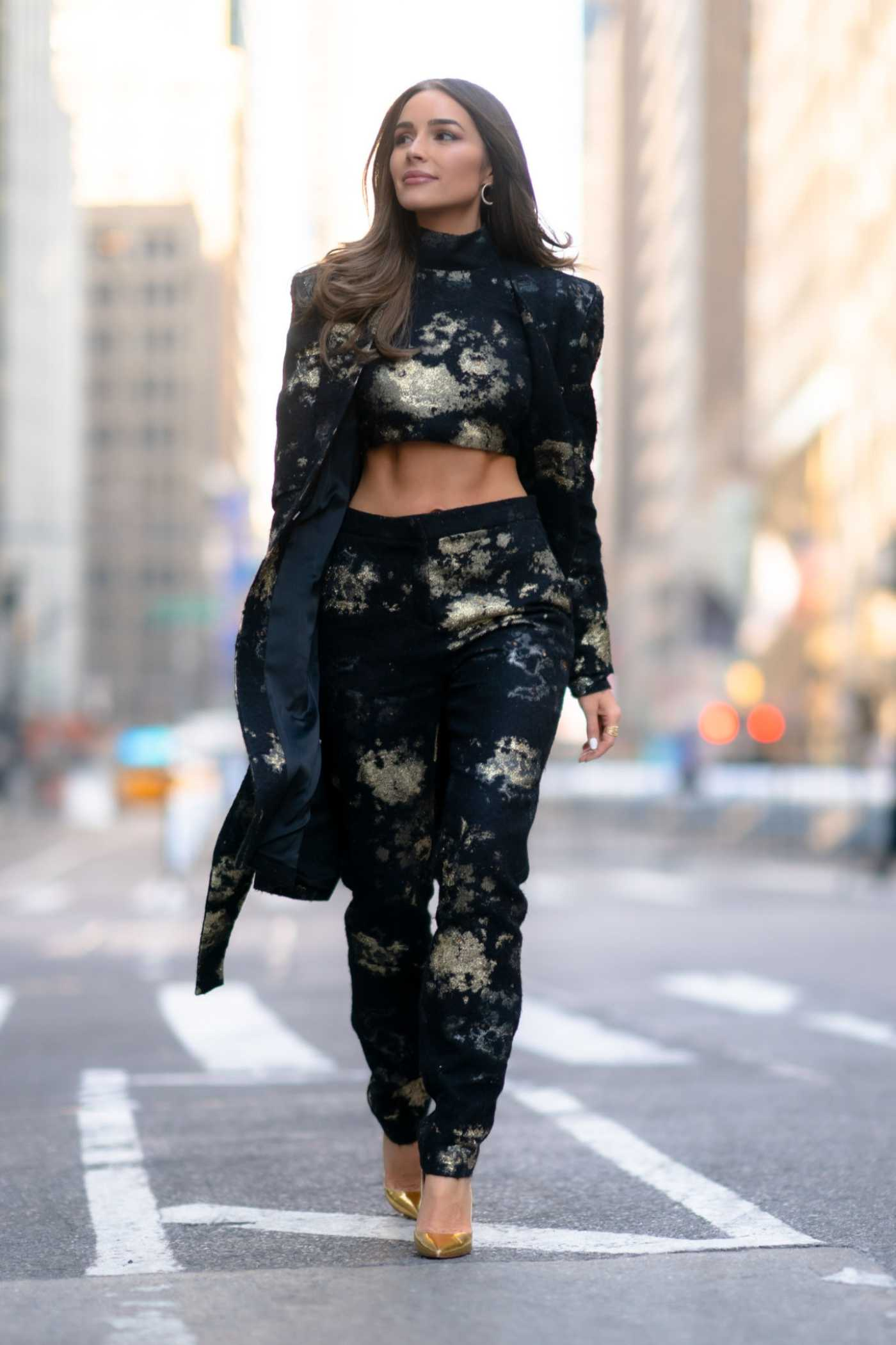Olivia Culpo in a Black Floral Suit Was Seen Out in New York City 01/24/2020