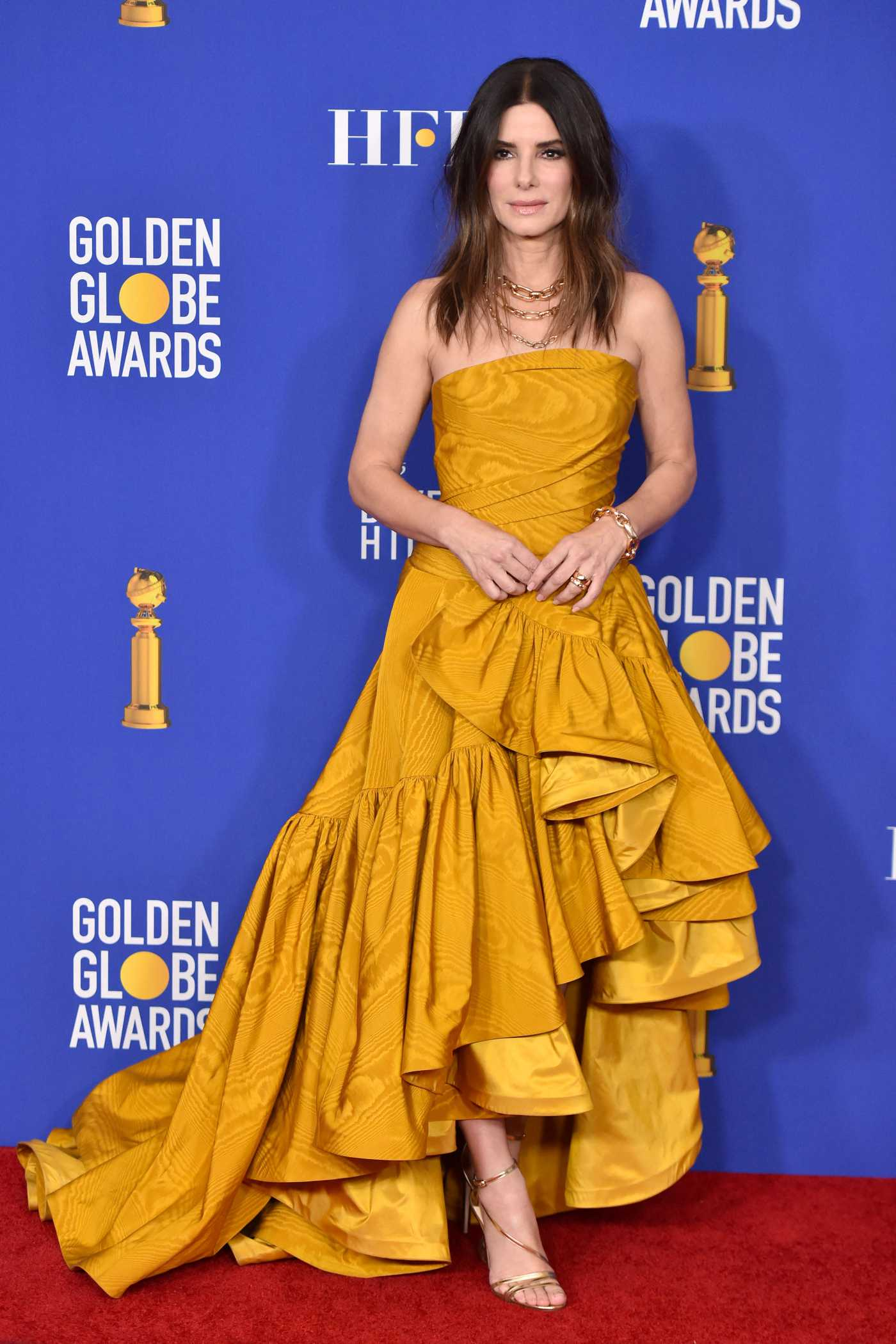 Sandra Bullock Attends the 77th Annual Golden Globe Awards at the Beverly Hilton Hotel in Beverly Hills 01/05/2020