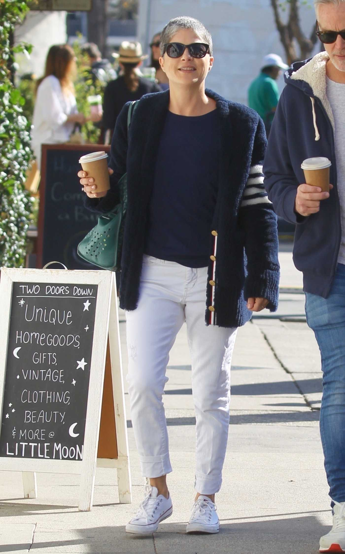 Selma Blair in a White Pants Was Seen Out with David Lyons in Studio City 01/12/2020